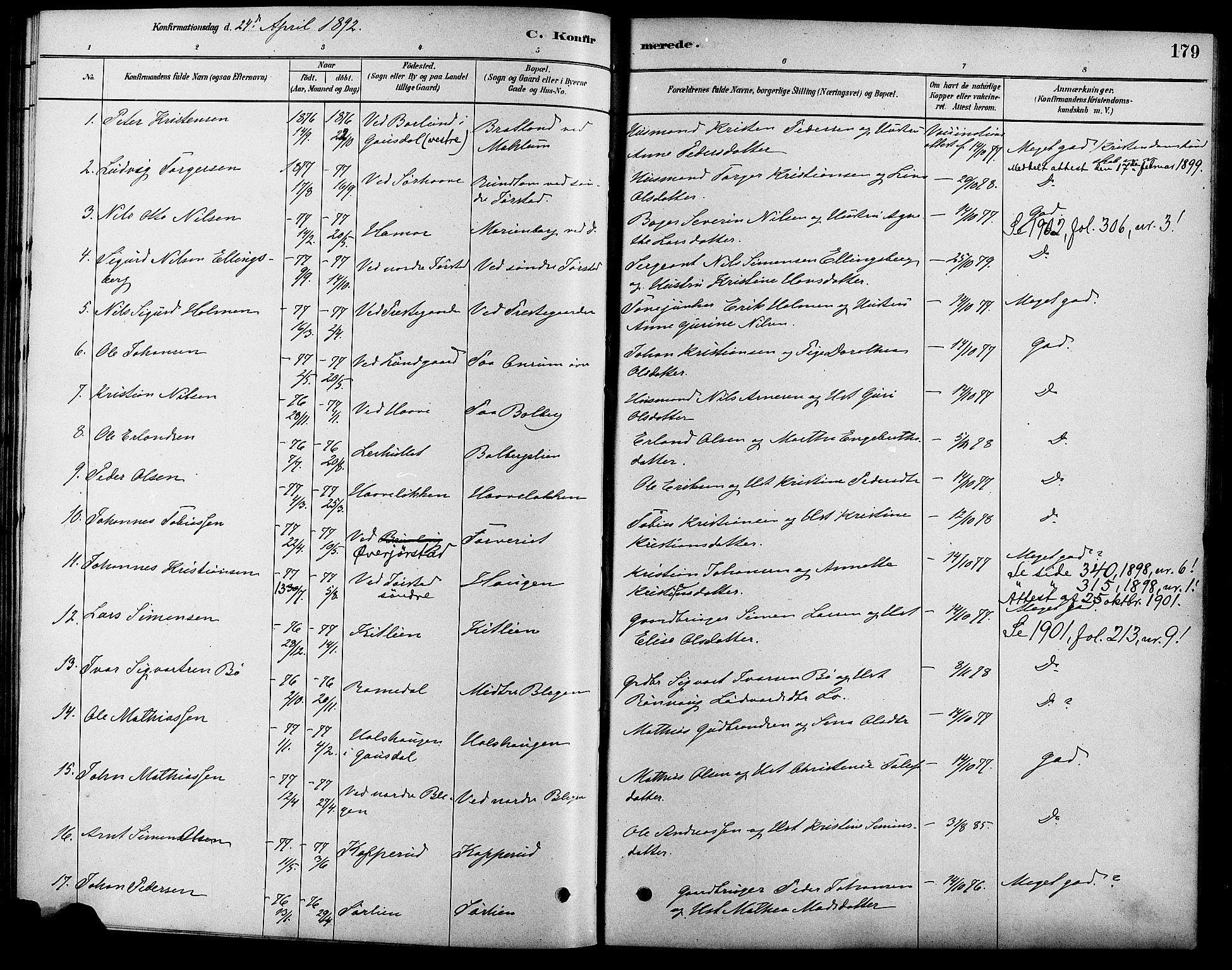 SAH, Fåberg prestekontor, Ministerialbok nr. 8, 1879-1898, s. 179
