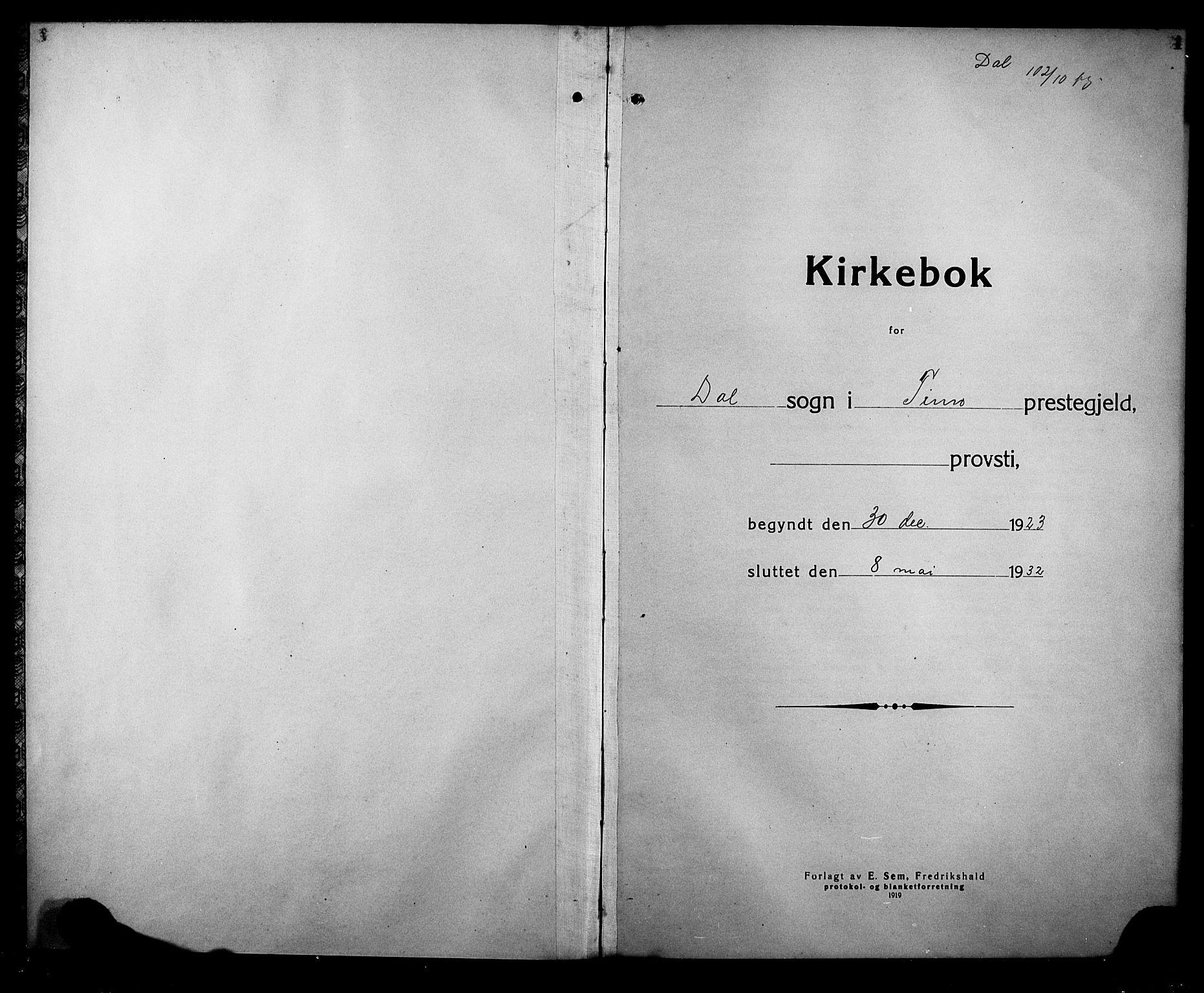 SAKO, Rjukan kirkebøker, G/Ga/L0004: Klokkerbok nr. 4, 1923-1932, s. 1