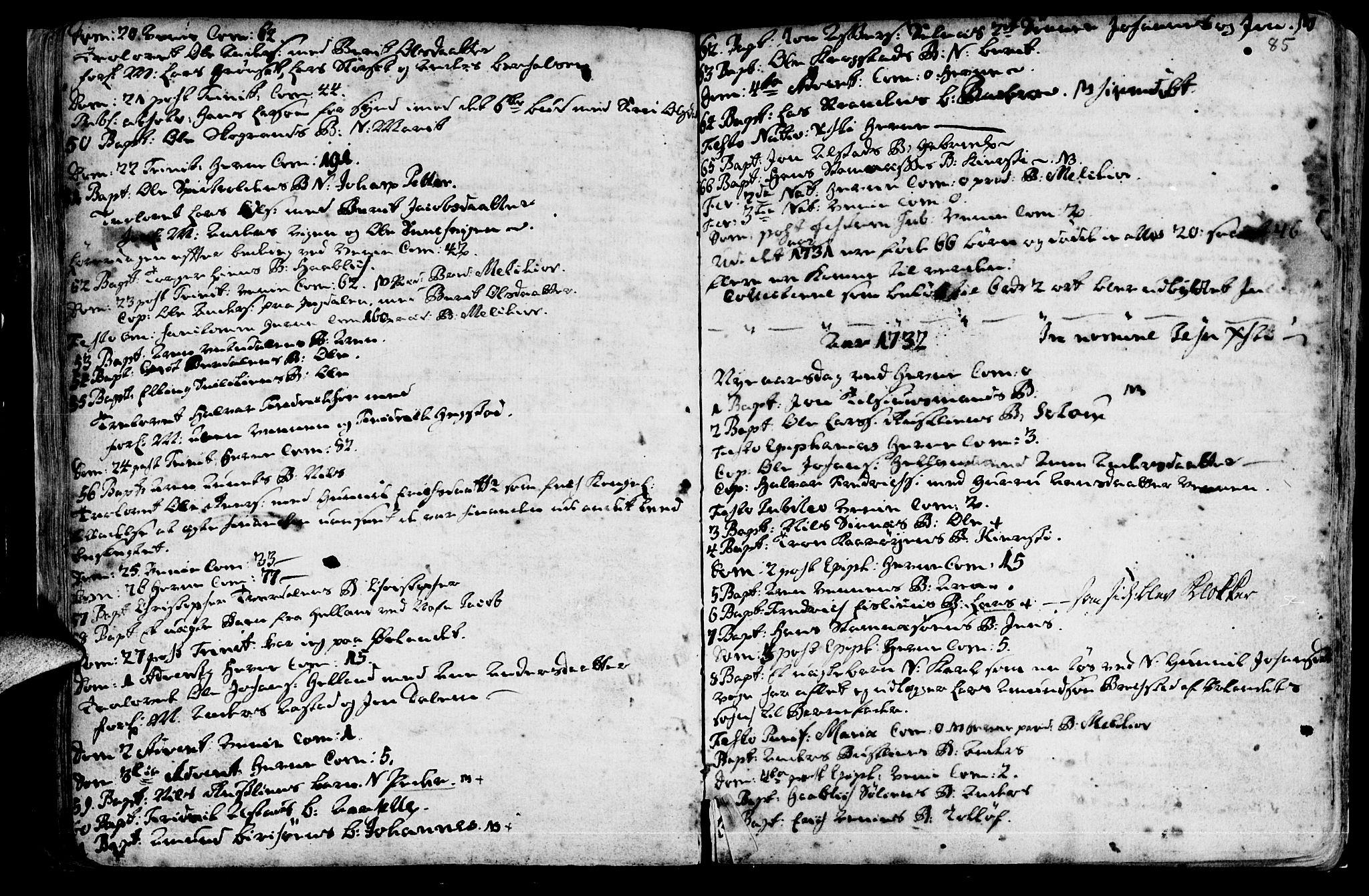 SAT, Ministerialprotokoller, klokkerbøker og fødselsregistre - Sør-Trøndelag, 630/L0488: Ministerialbok nr. 630A01, 1717-1756, s. 84-85