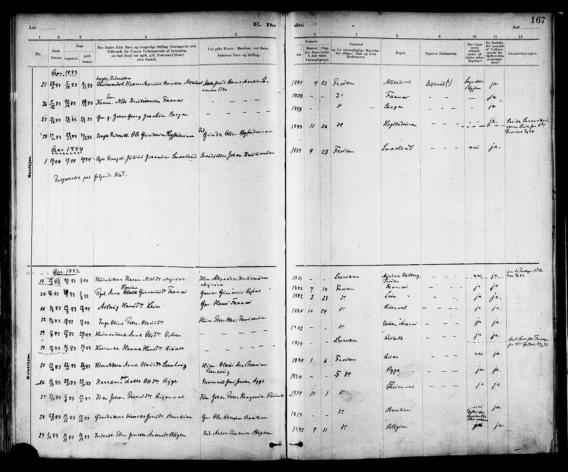 SAT, Ministerialprotokoller, klokkerbøker og fødselsregistre - Nord-Trøndelag, 713/L0120: Ministerialbok nr. 713A09, 1878-1887, s. 167