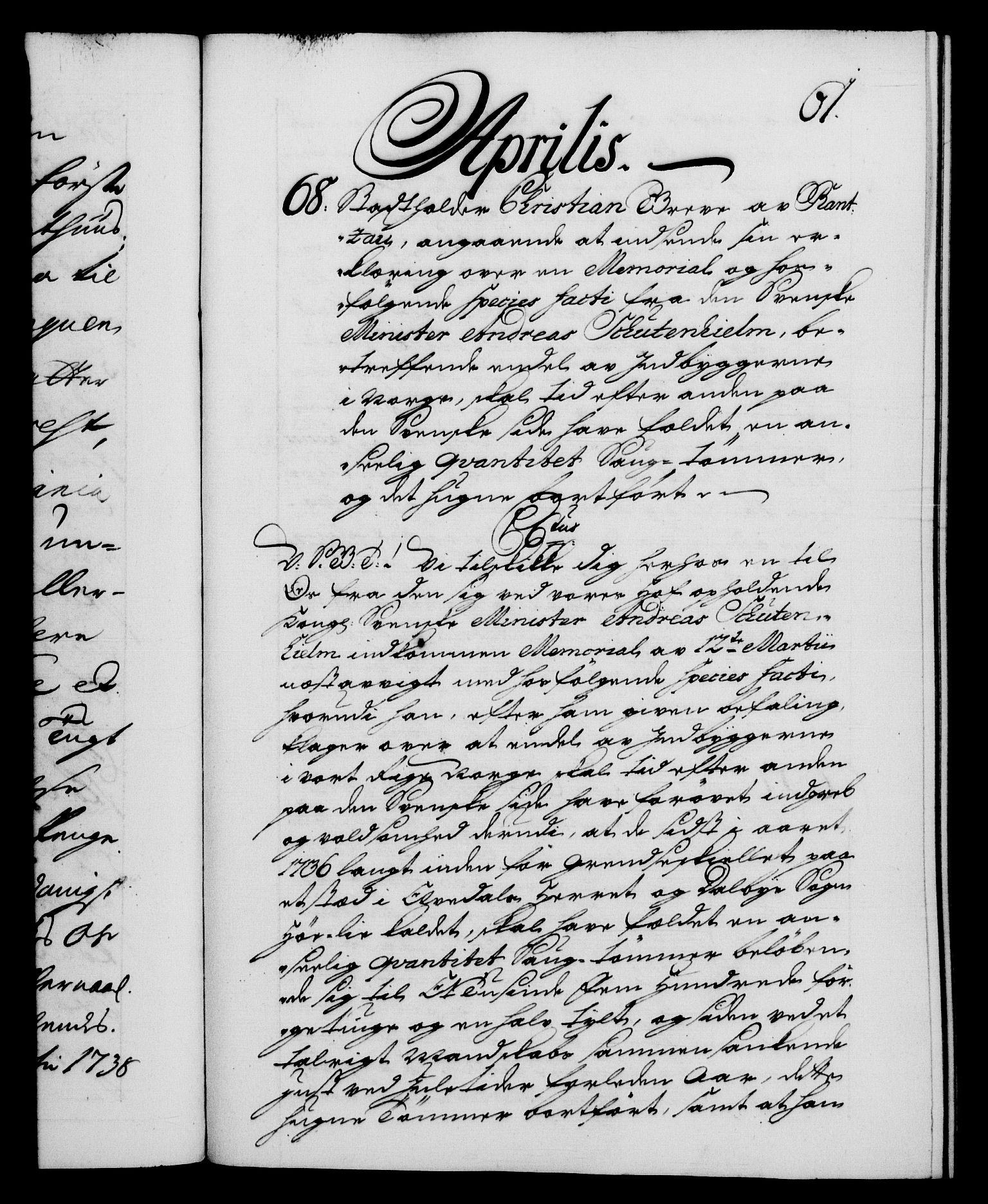 RA, Danske Kanselli 1572-1799, F/Fc/Fca/Fcab/L0028: Norske tegnelser, 1738-1740, s. 61a