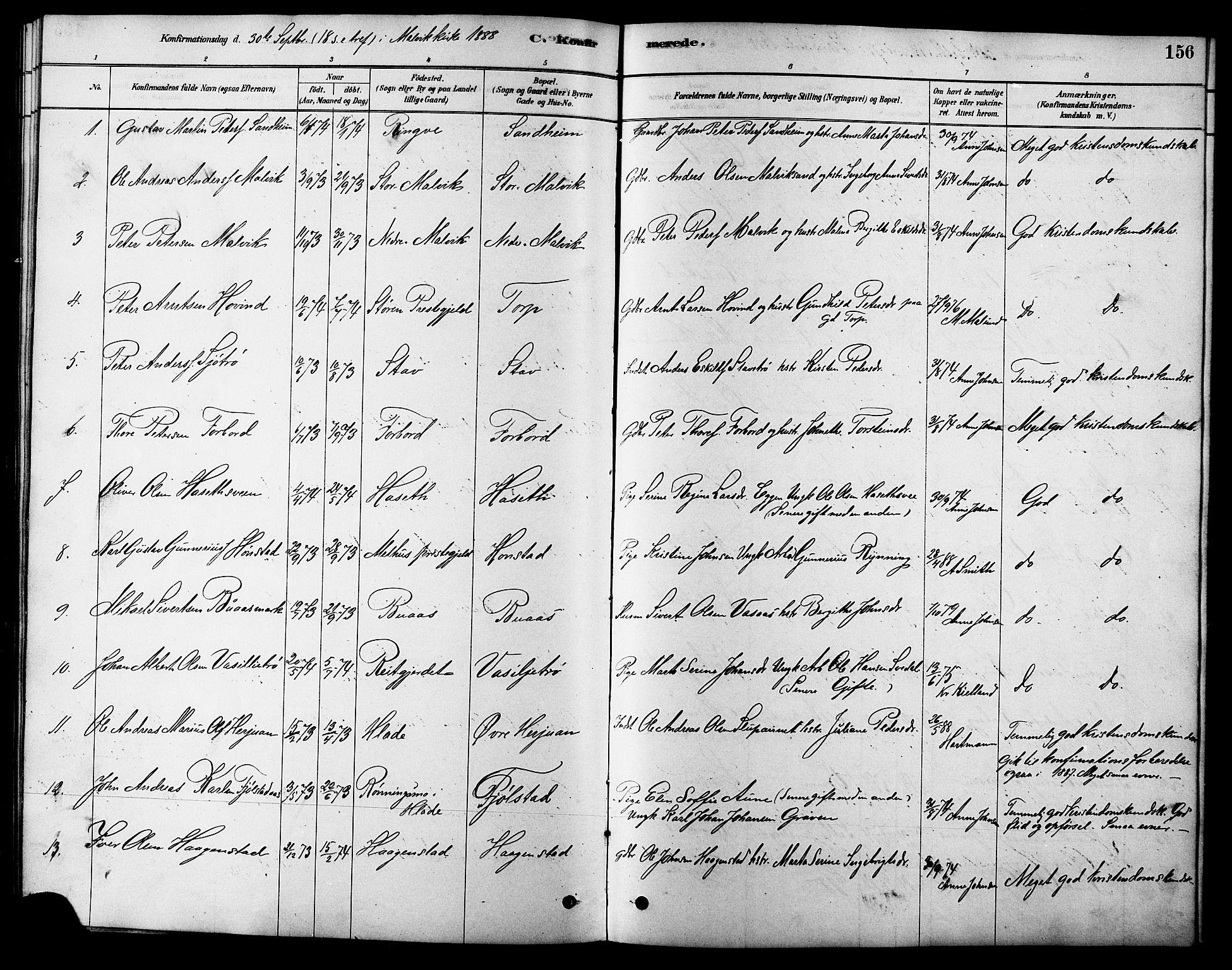 SAT, Ministerialprotokoller, klokkerbøker og fødselsregistre - Sør-Trøndelag, 616/L0423: Klokkerbok nr. 616C06, 1878-1903, s. 156