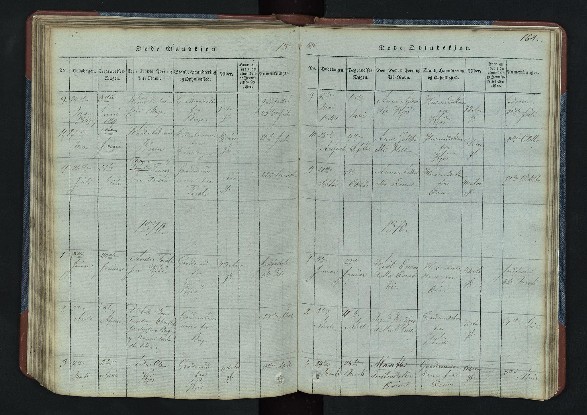 SAH, Vang prestekontor, Valdres, Klokkerbok nr. 3, 1814-1892, s. 164