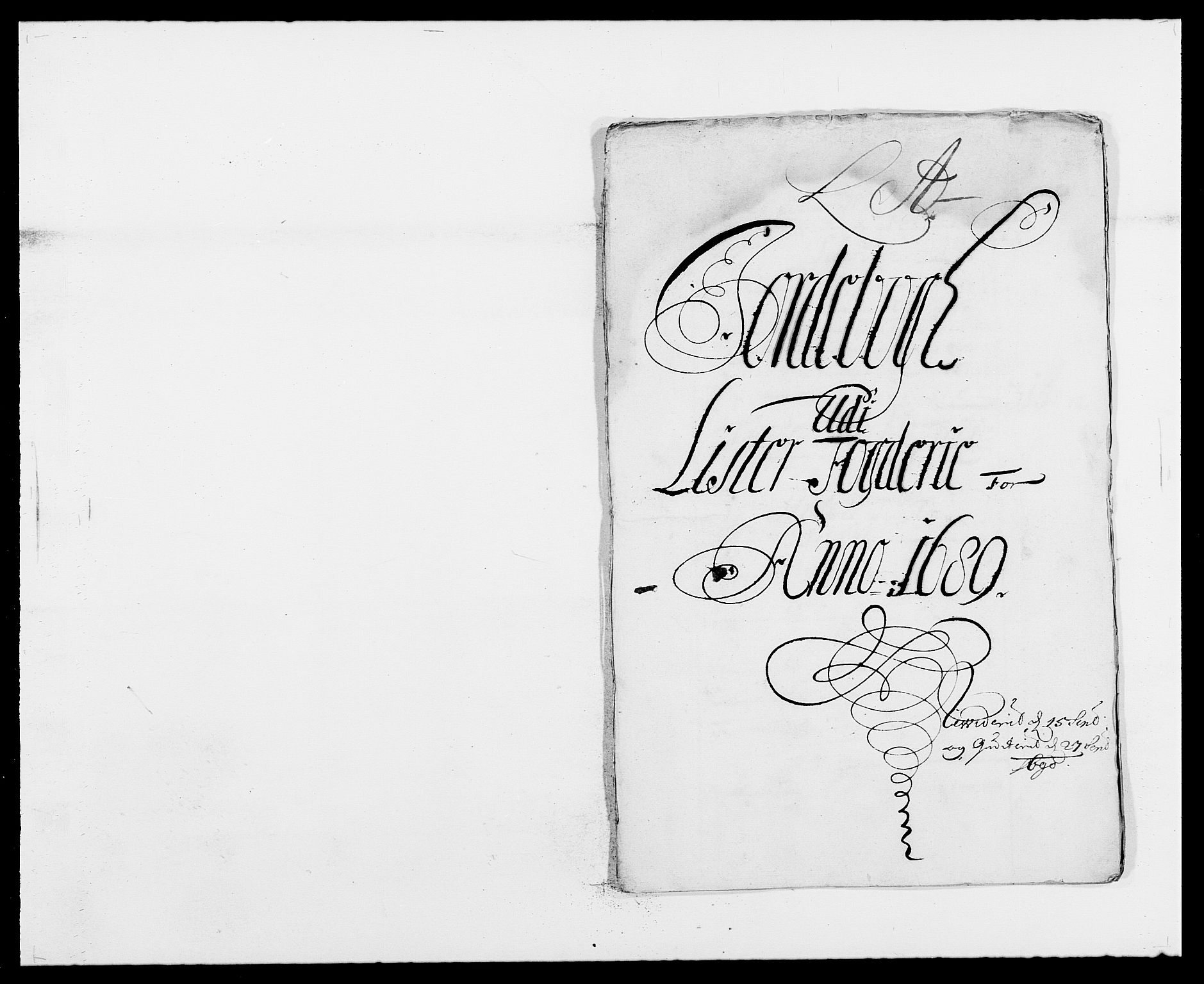 RA, Rentekammeret inntil 1814, Reviderte regnskaper, Fogderegnskap, R41/L2535: Fogderegnskap Lista, 1686-1689, s. 1