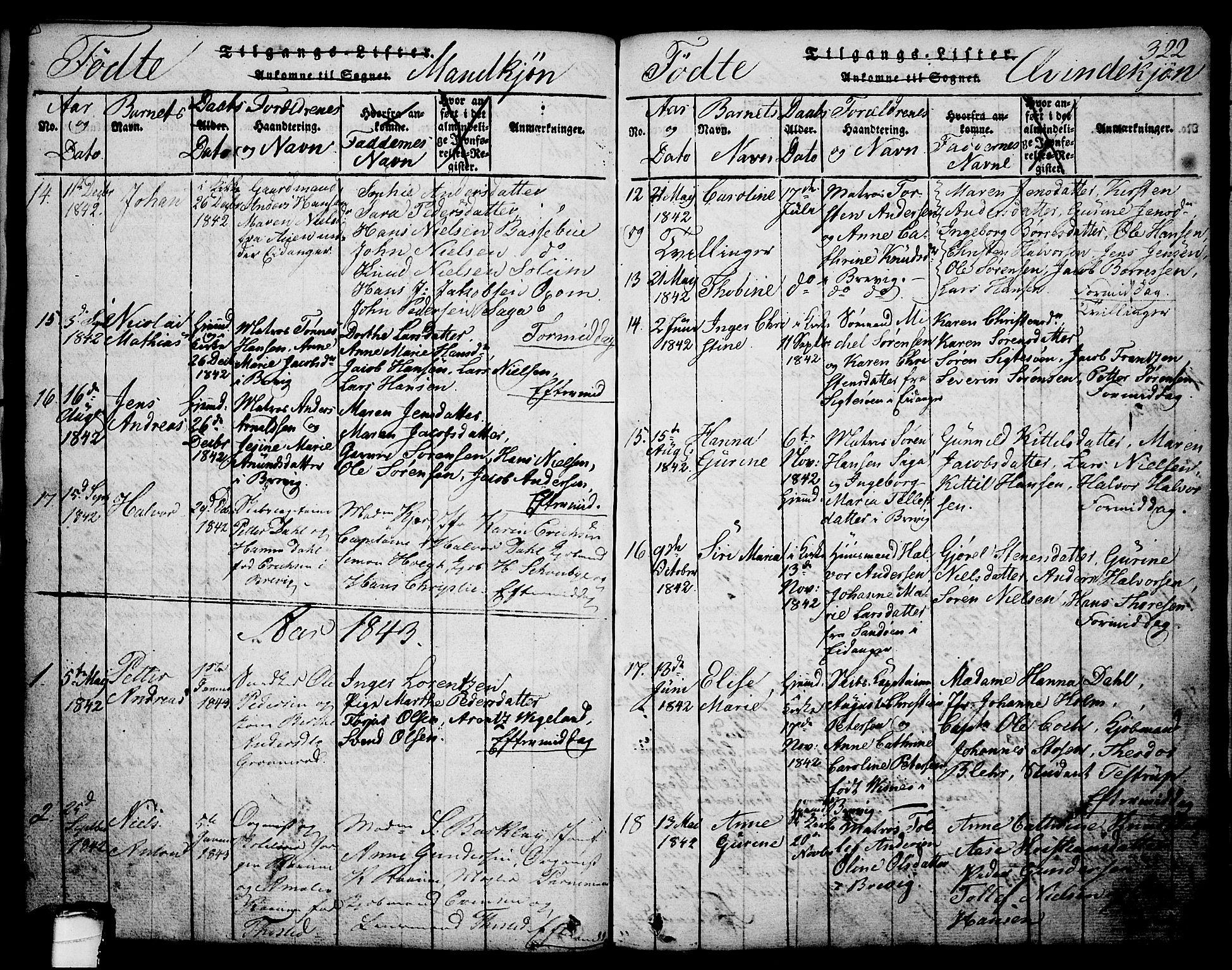 SAKO, Brevik kirkebøker, G/Ga/L0001: Klokkerbok nr. 1, 1814-1845, s. 322