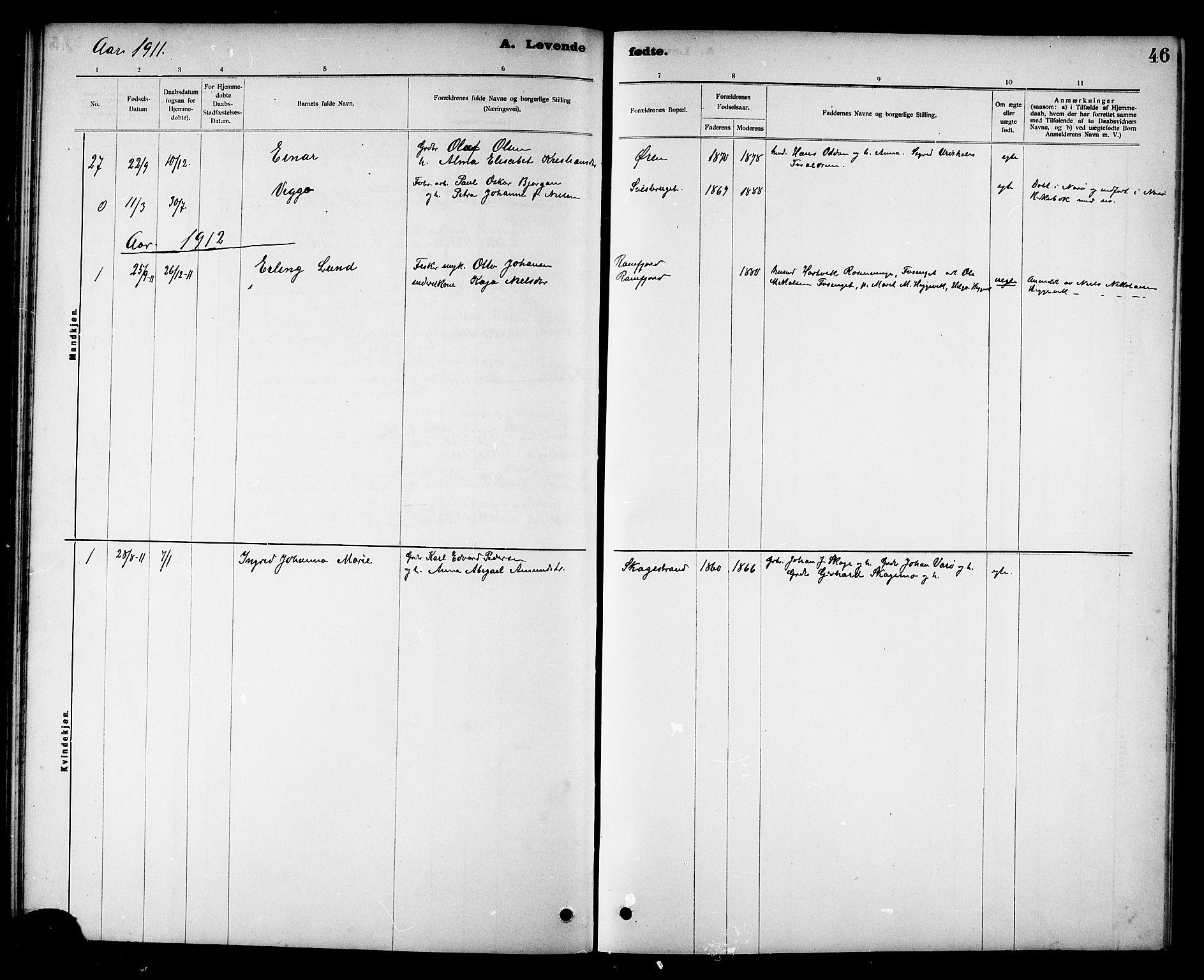 SAT, Ministerialprotokoller, klokkerbøker og fødselsregistre - Nord-Trøndelag, 780/L0652: Klokkerbok nr. 780C04, 1899-1911, s. 46