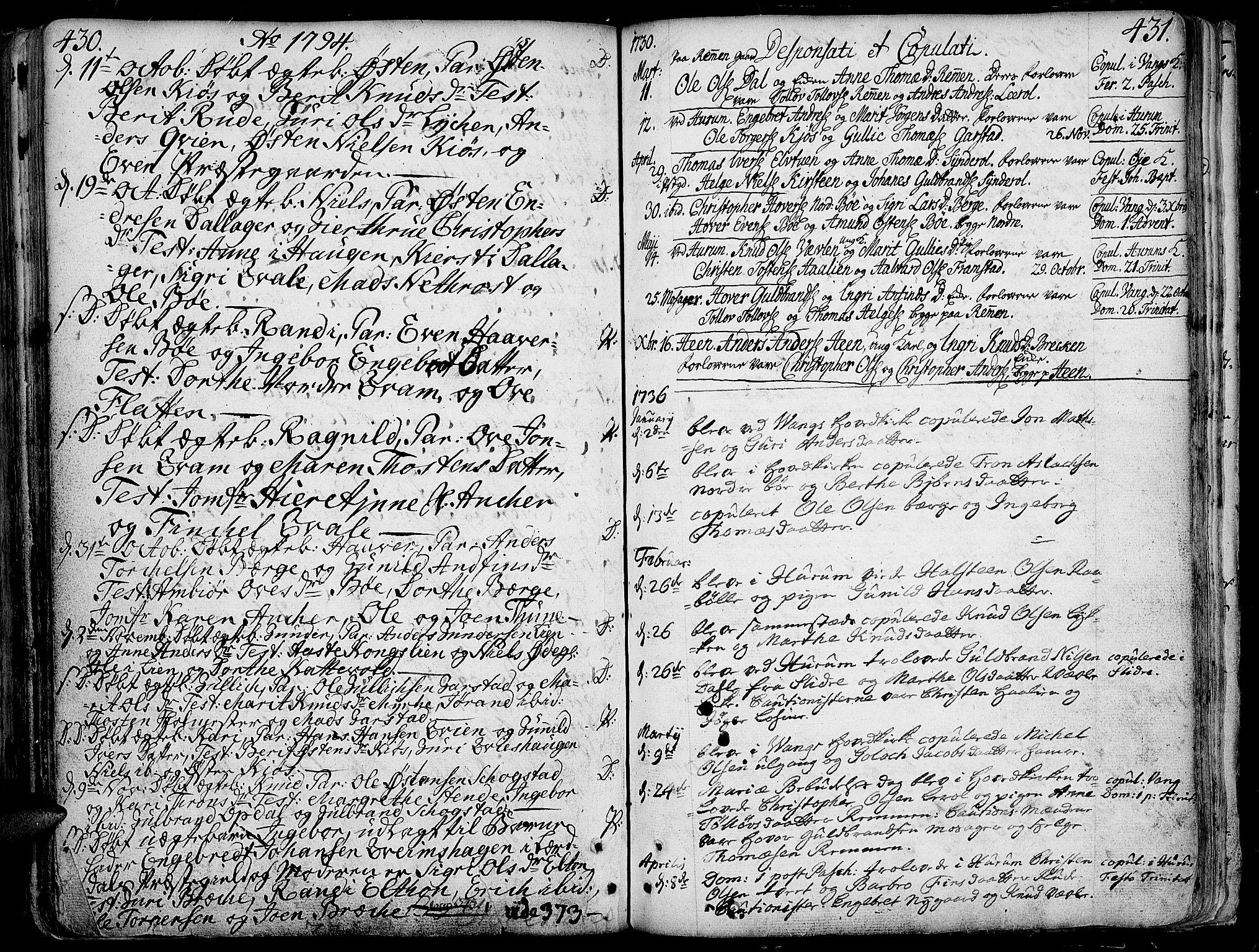 SAH, Vang prestekontor, Valdres, Ministerialbok nr. 1, 1730-1796, s. 430-431