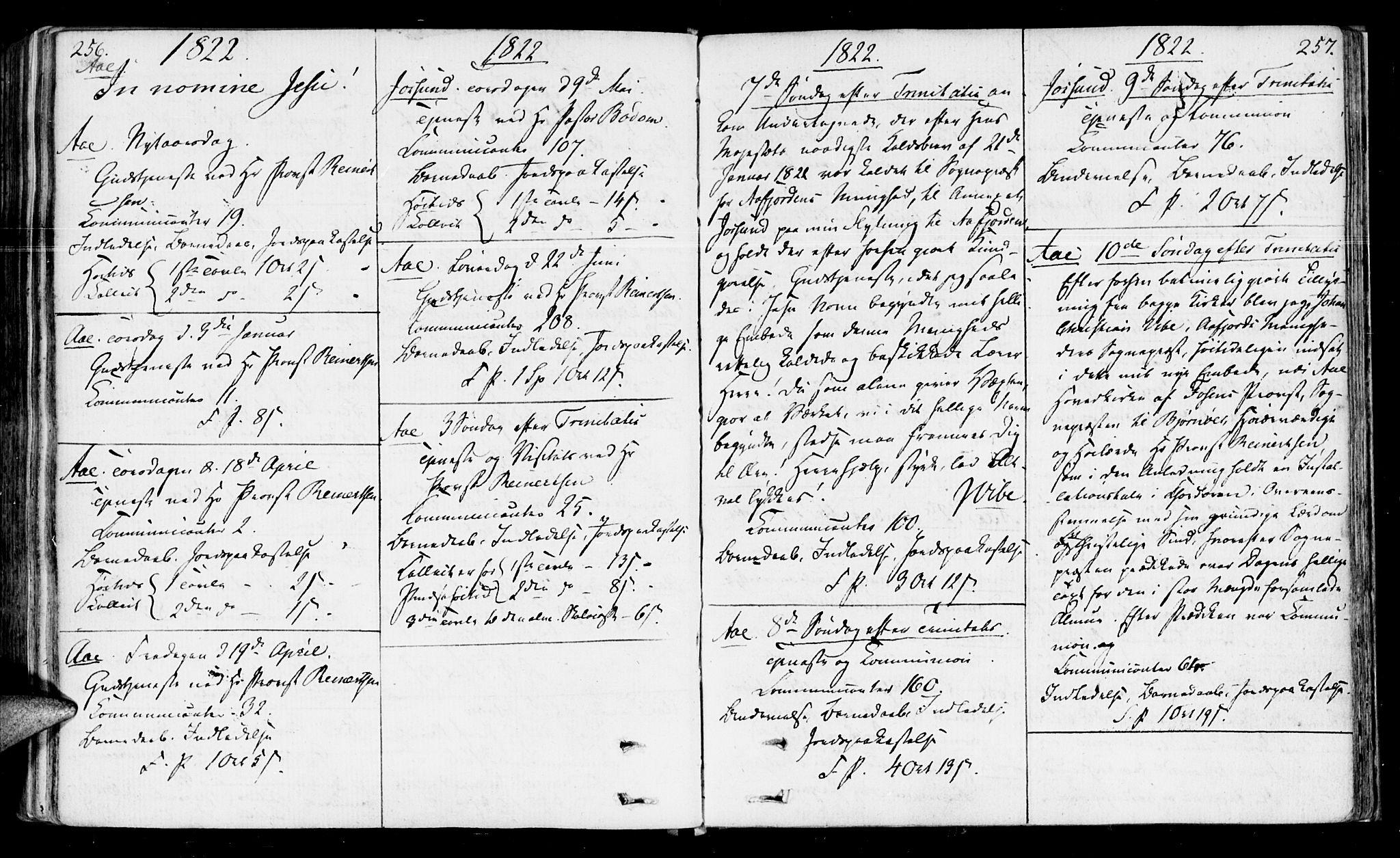 SAT, Ministerialprotokoller, klokkerbøker og fødselsregistre - Sør-Trøndelag, 655/L0674: Ministerialbok nr. 655A03, 1802-1826, s. 256-257