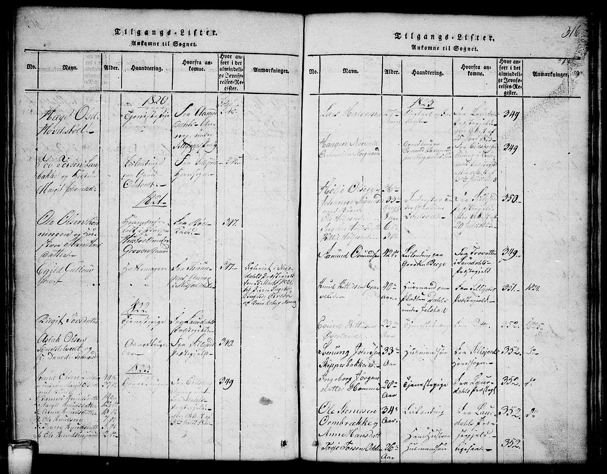 SAKO, Kviteseid kirkebøker, G/Gb/L0001: Klokkerbok nr. II 1, 1815-1842, s. 316
