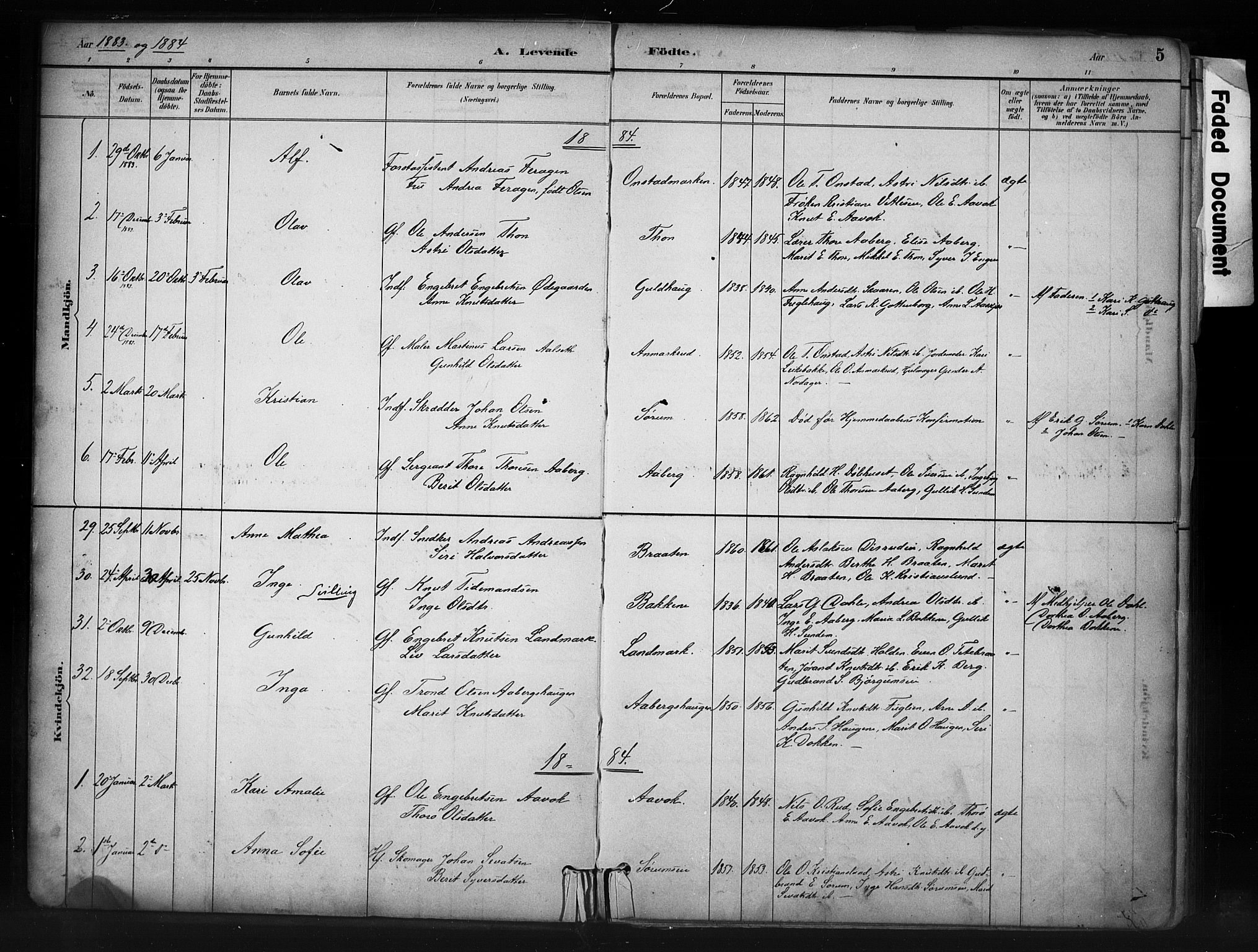 SAH, Nord-Aurdal prestekontor, Ministerialbok nr. 13, 1883-1895, s. 5