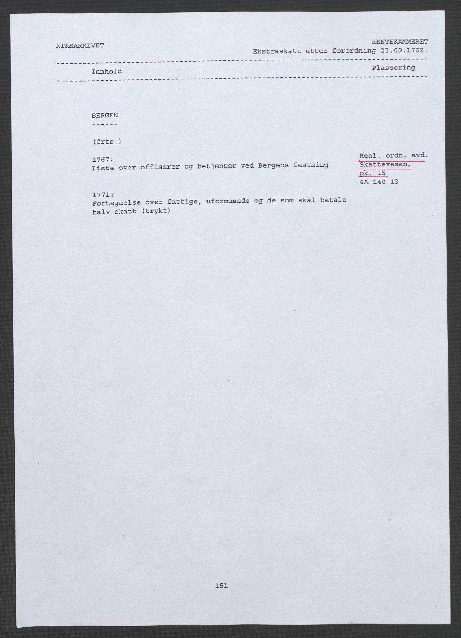 RA, Rentekammeret inntil 1814, Realistisk ordnet avdeling, Ol/L0015: [Gg 10]: Ekstraskatten, 23.09.1762. Stavanger by, Jæren og Dalane, Bergen, 1767, s. 2