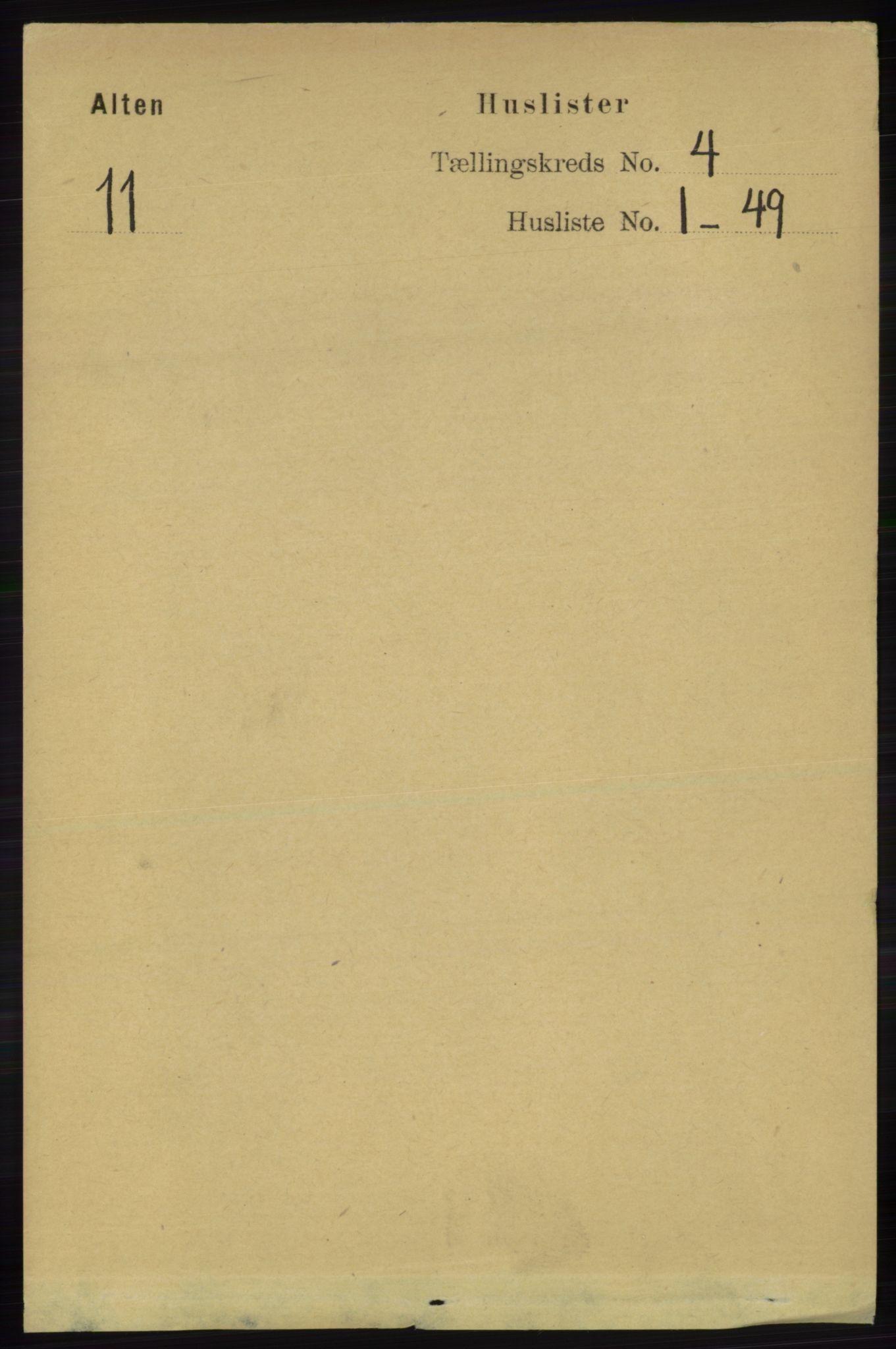 RA, Folketelling 1891 for 2012 Alta herred, 1891, s. 1310