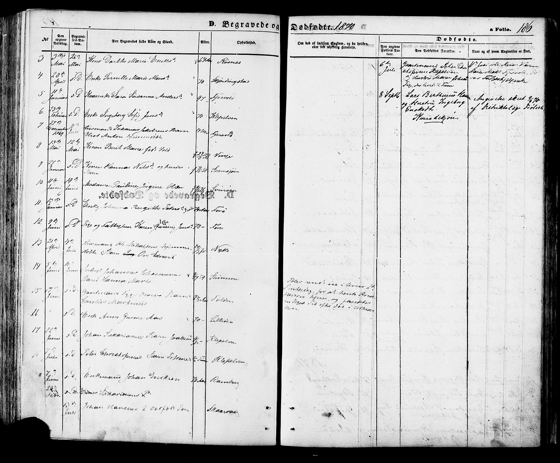 SAT, Ministerialprotokoller, klokkerbøker og fødselsregistre - Nordland, 891/L1301: Ministerialbok nr. 891A06, 1870-1878, s. 186