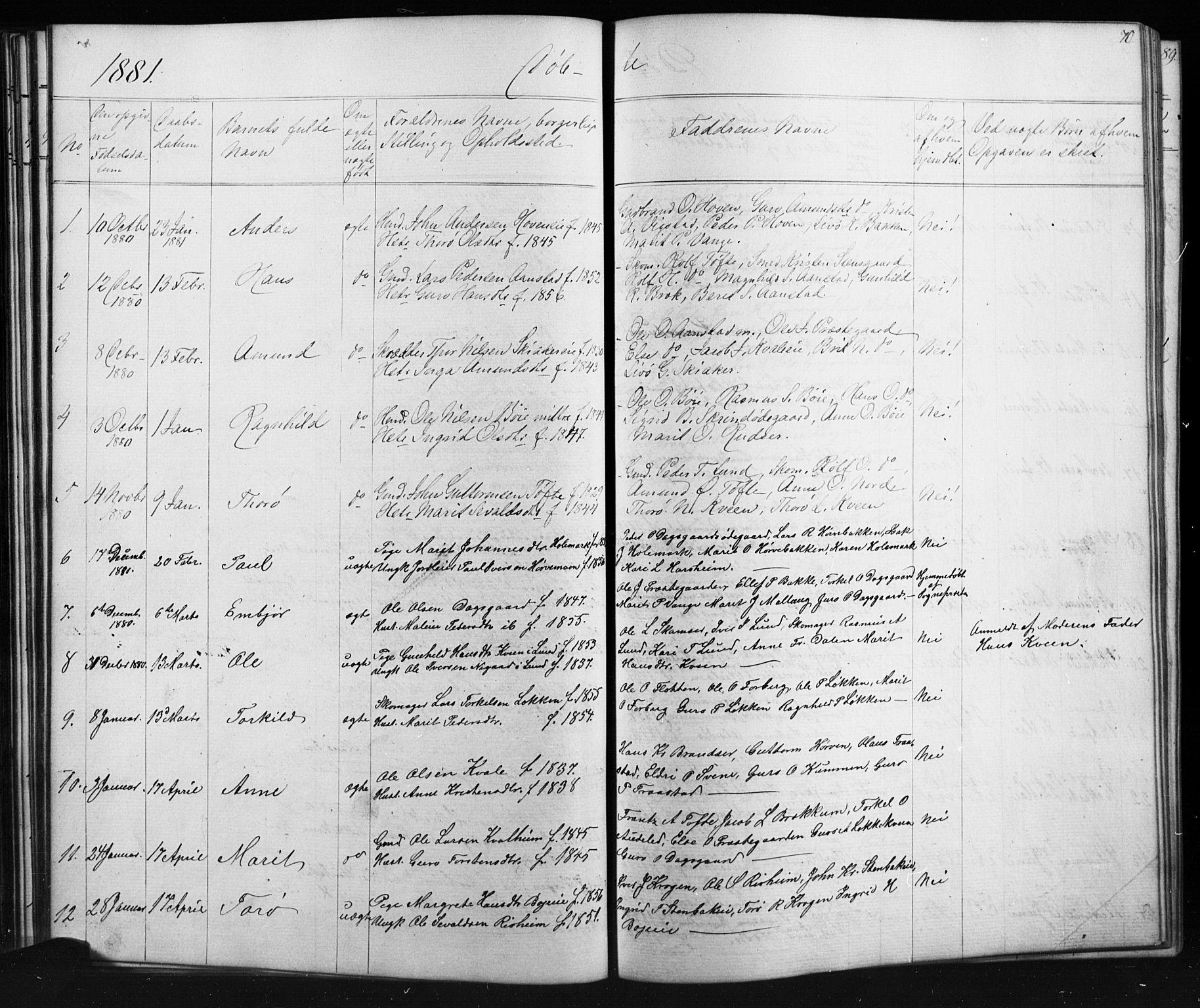 SAH, Skjåk prestekontor, Klokkerbok nr. 1, 1865-1893, s. 70