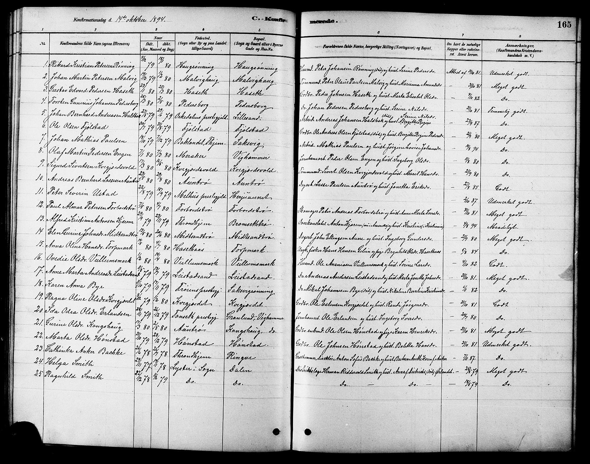 SAT, Ministerialprotokoller, klokkerbøker og fødselsregistre - Sør-Trøndelag, 616/L0423: Klokkerbok nr. 616C06, 1878-1903, s. 165