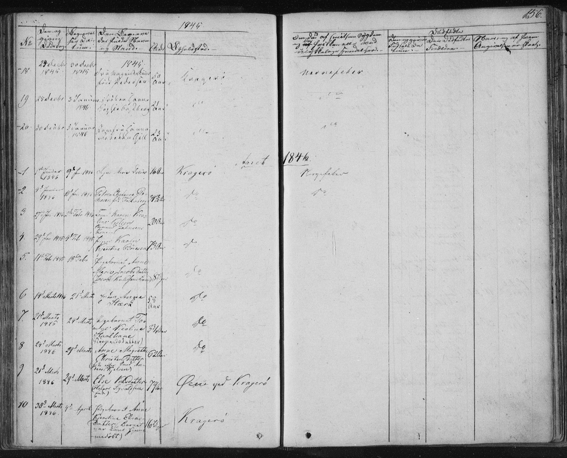 SAKO, Kragerø kirkebøker, F/Fa/L0005: Ministerialbok nr. 5, 1832-1847, s. 156