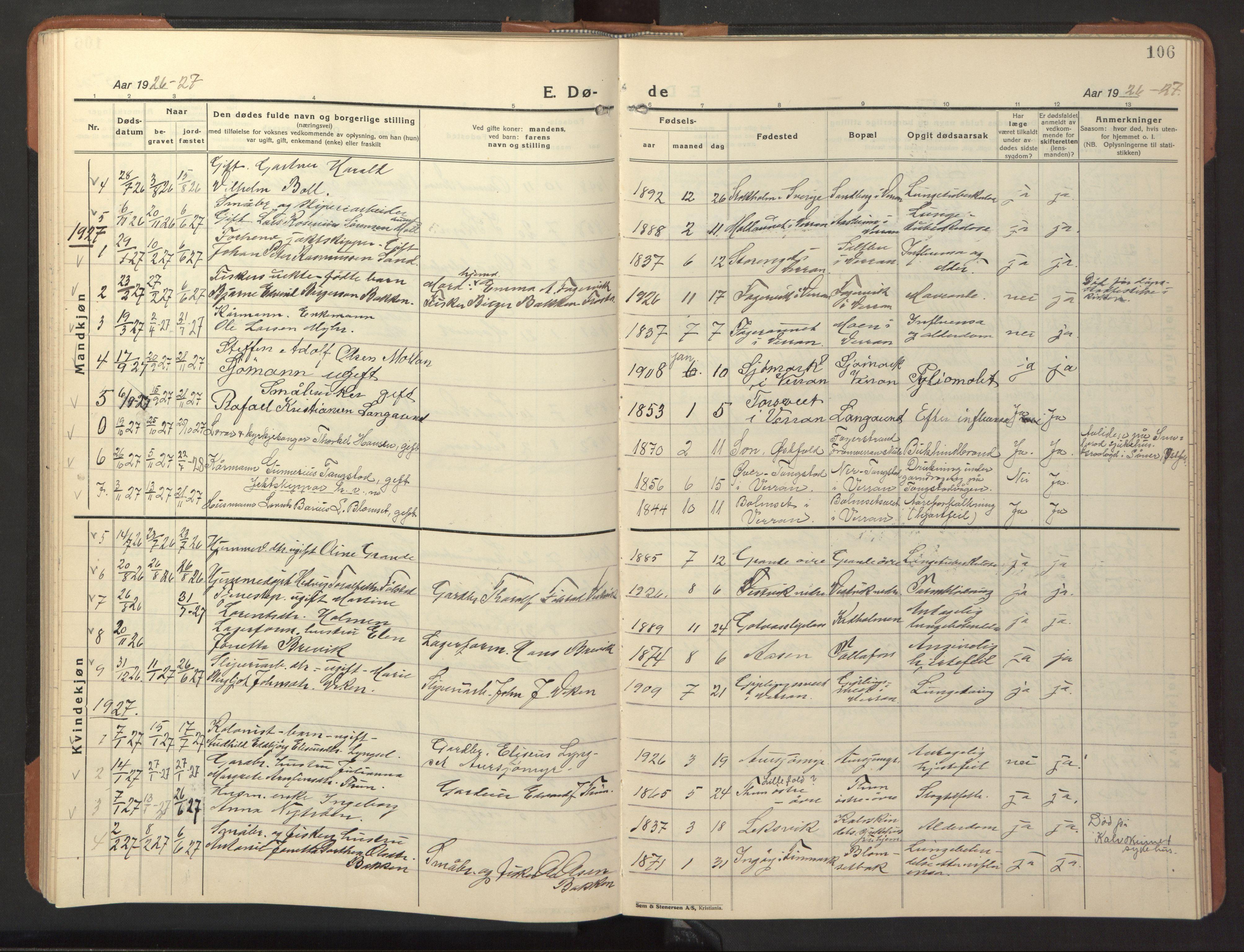 SAT, Ministerialprotokoller, klokkerbøker og fødselsregistre - Nord-Trøndelag, 744/L0425: Klokkerbok nr. 744C04, 1924-1947, s. 106