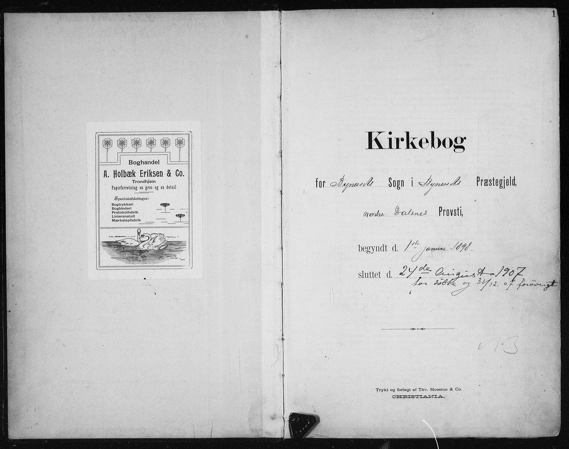 SAT, Ministerialprotokoller, klokkerbøker og fødselsregistre - Sør-Trøndelag, 612/L0380: Ministerialbok nr. 612A12, 1898-1907, s. 1