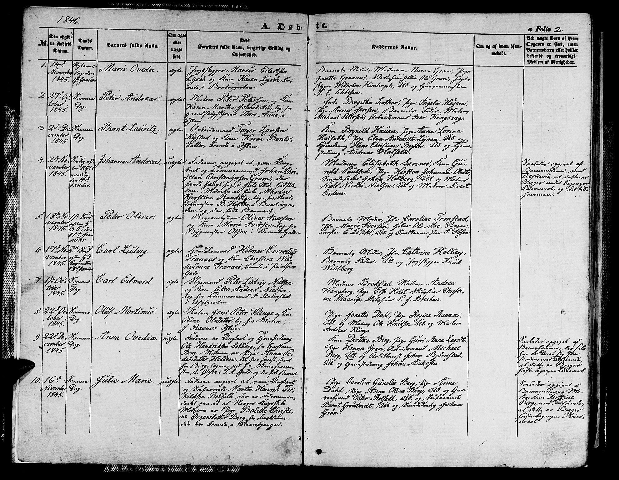 SAT, Ministerialprotokoller, klokkerbøker og fødselsregistre - Sør-Trøndelag, 602/L0137: Klokkerbok nr. 602C05, 1846-1856, s. 2
