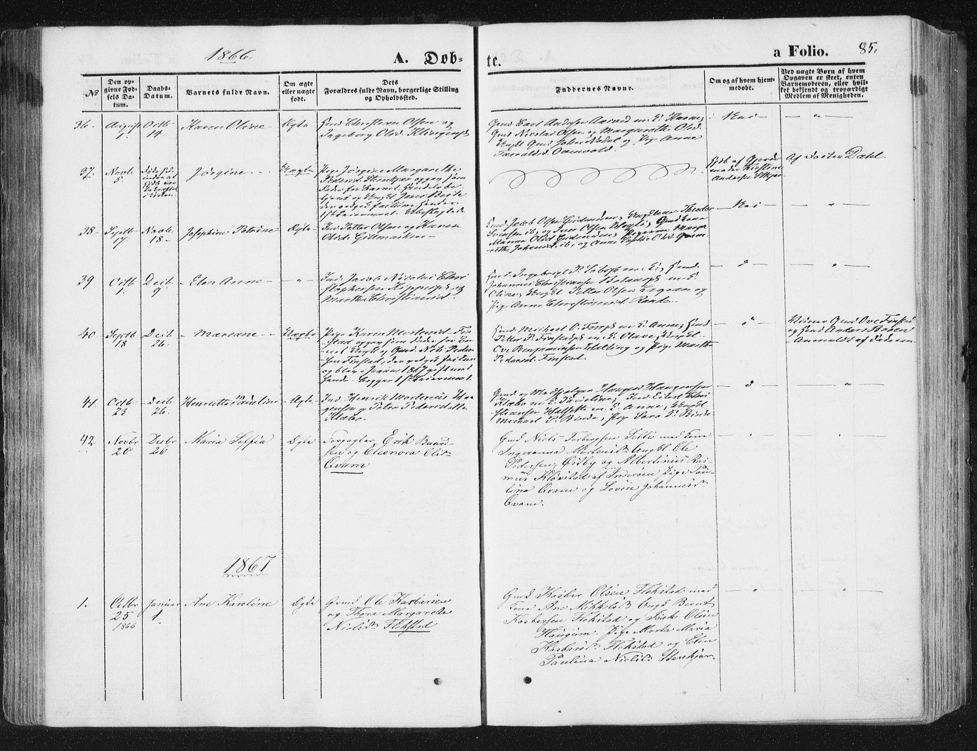 SAT, Ministerialprotokoller, klokkerbøker og fødselsregistre - Nord-Trøndelag, 746/L0447: Ministerialbok nr. 746A06, 1860-1877, s. 85