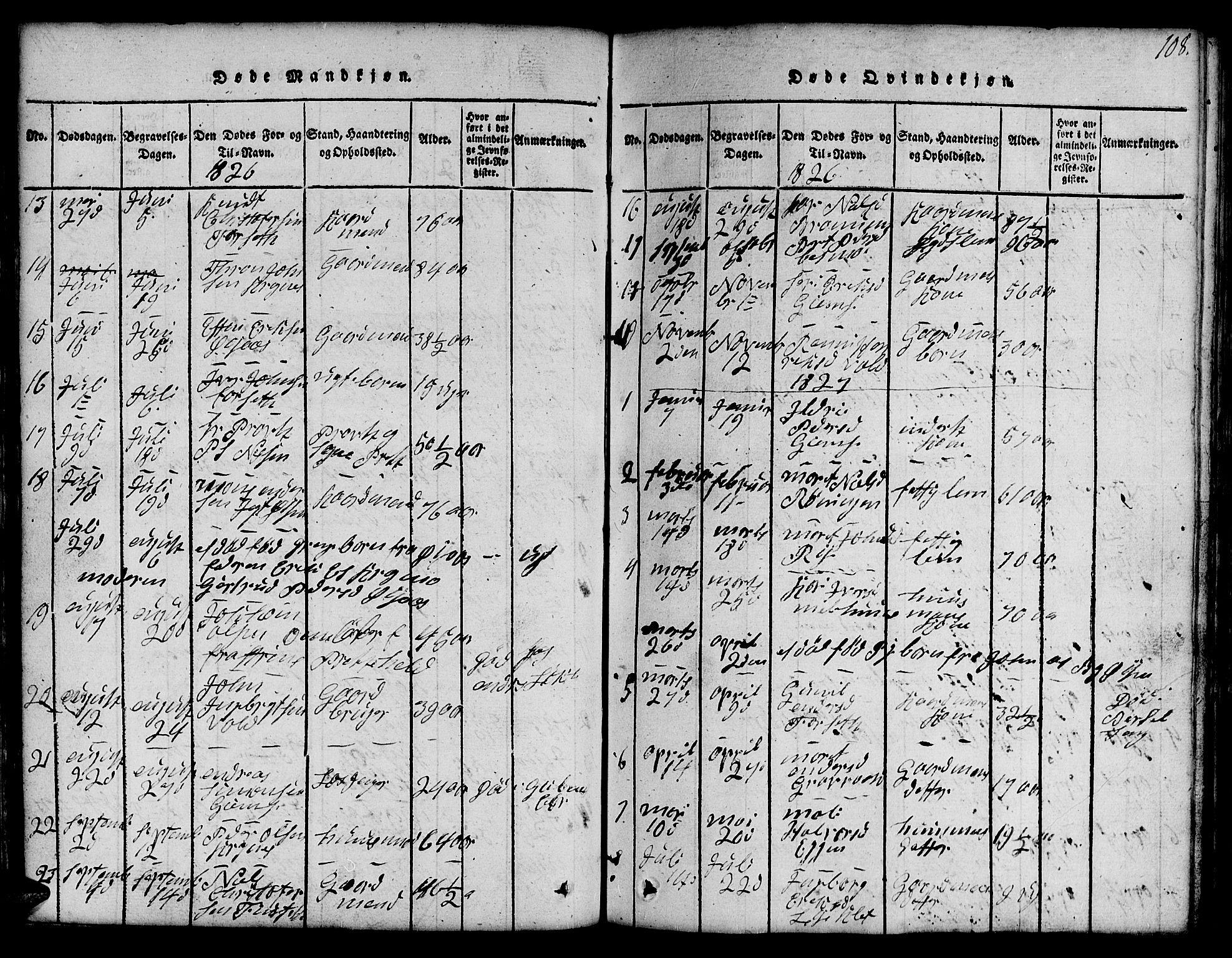 SAT, Ministerialprotokoller, klokkerbøker og fødselsregistre - Sør-Trøndelag, 691/L1092: Klokkerbok nr. 691C03, 1816-1852, s. 108