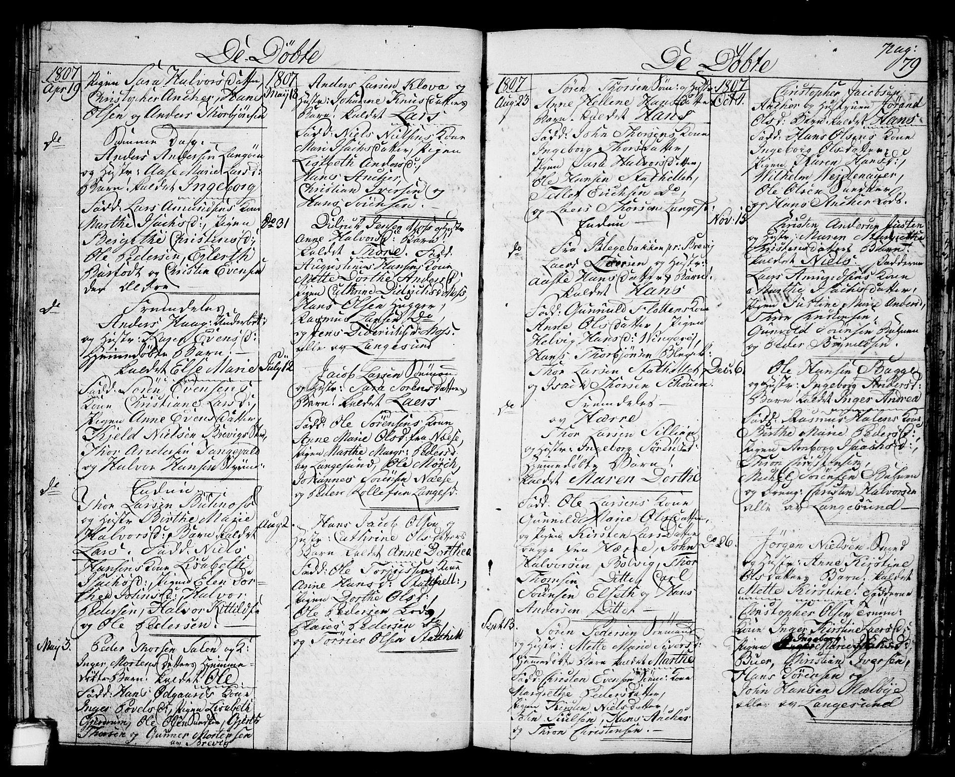 SAKO, Langesund kirkebøker, G/Ga/L0002: Klokkerbok nr. 2, 1801-1815, s. 79