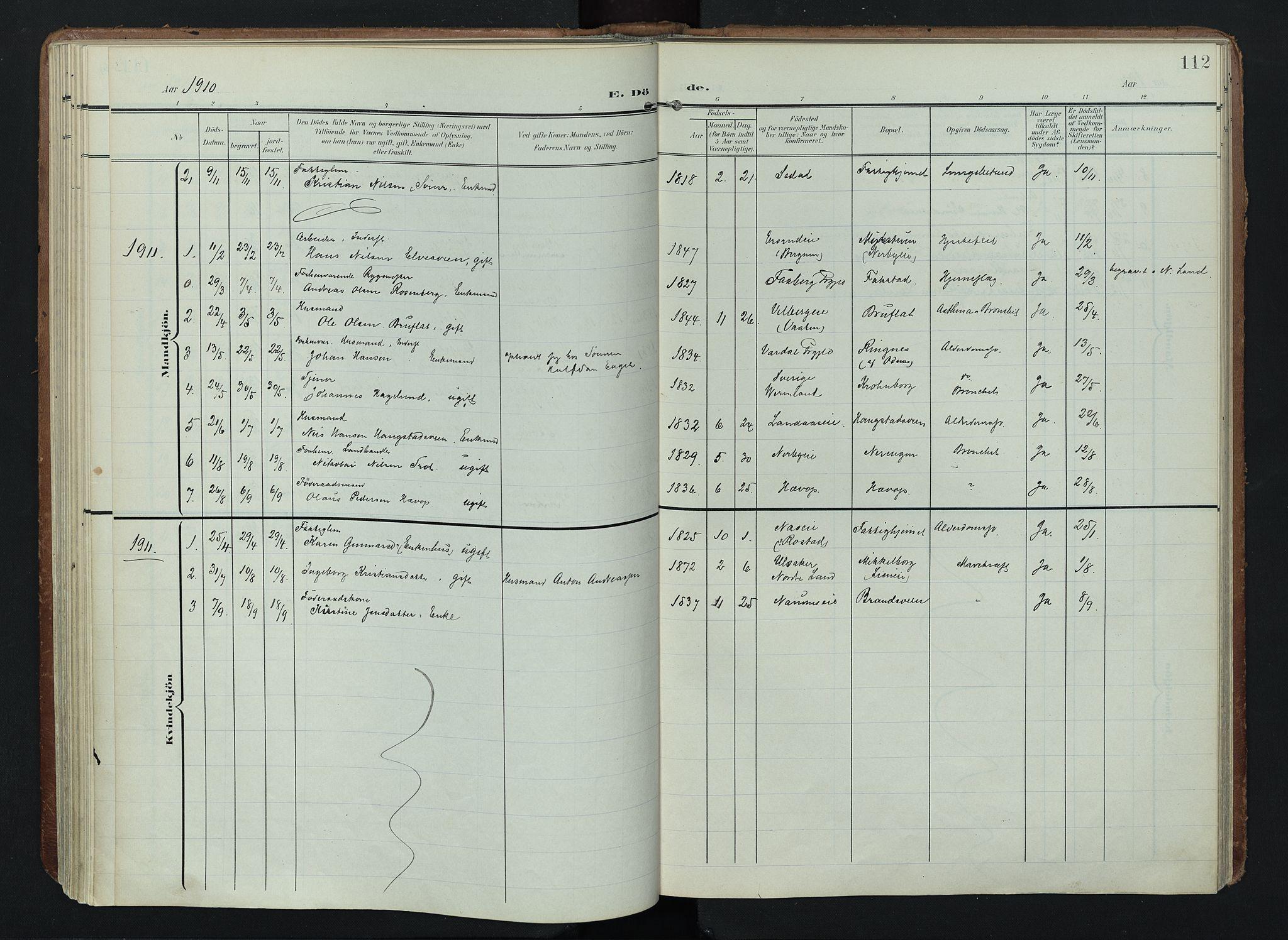 SAH, Søndre Land prestekontor, K/L0005: Ministerialbok nr. 5, 1905-1914, s. 112
