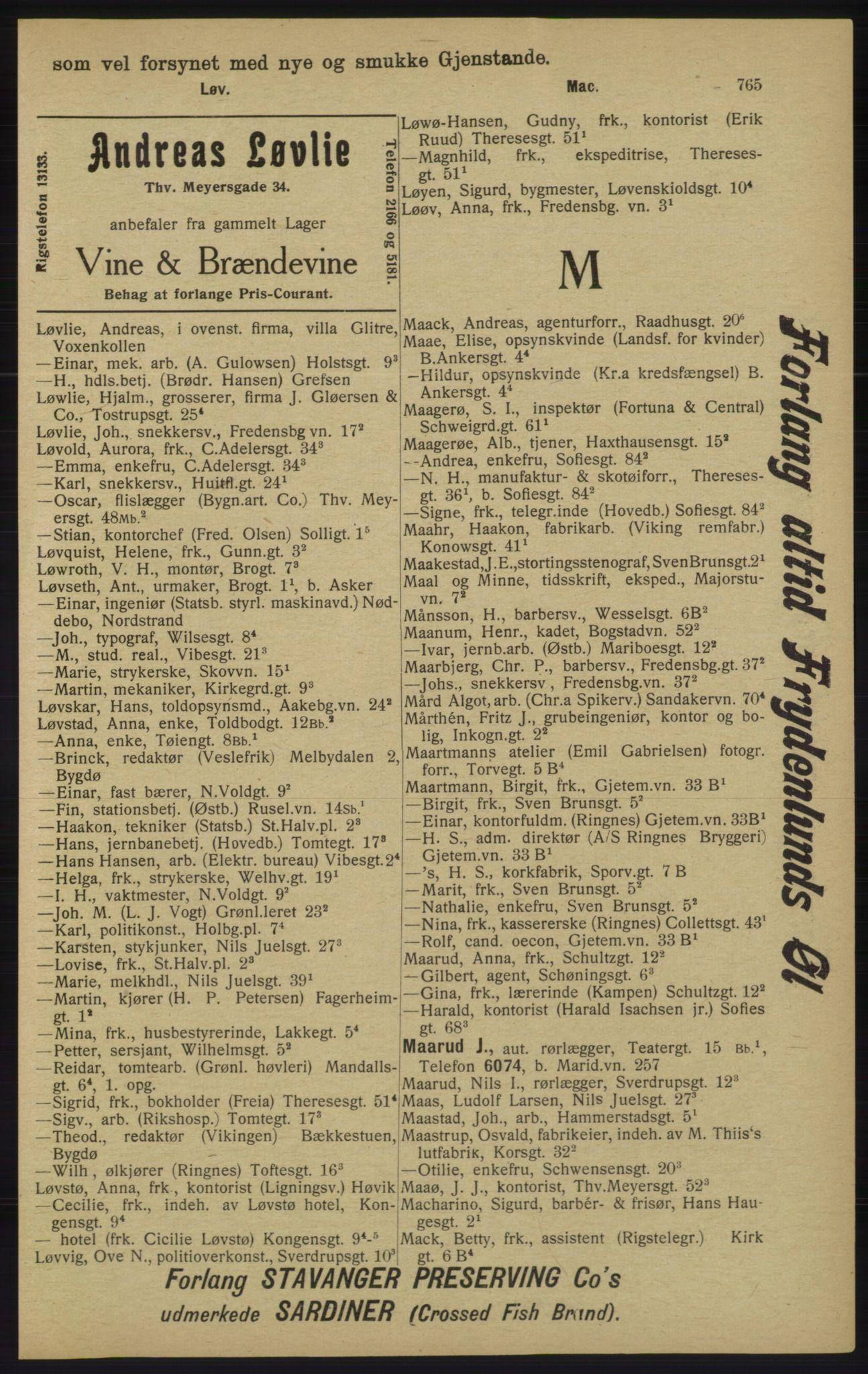 RA, Kristiania adressebok (publikasjon)*, 1913, s. 765
