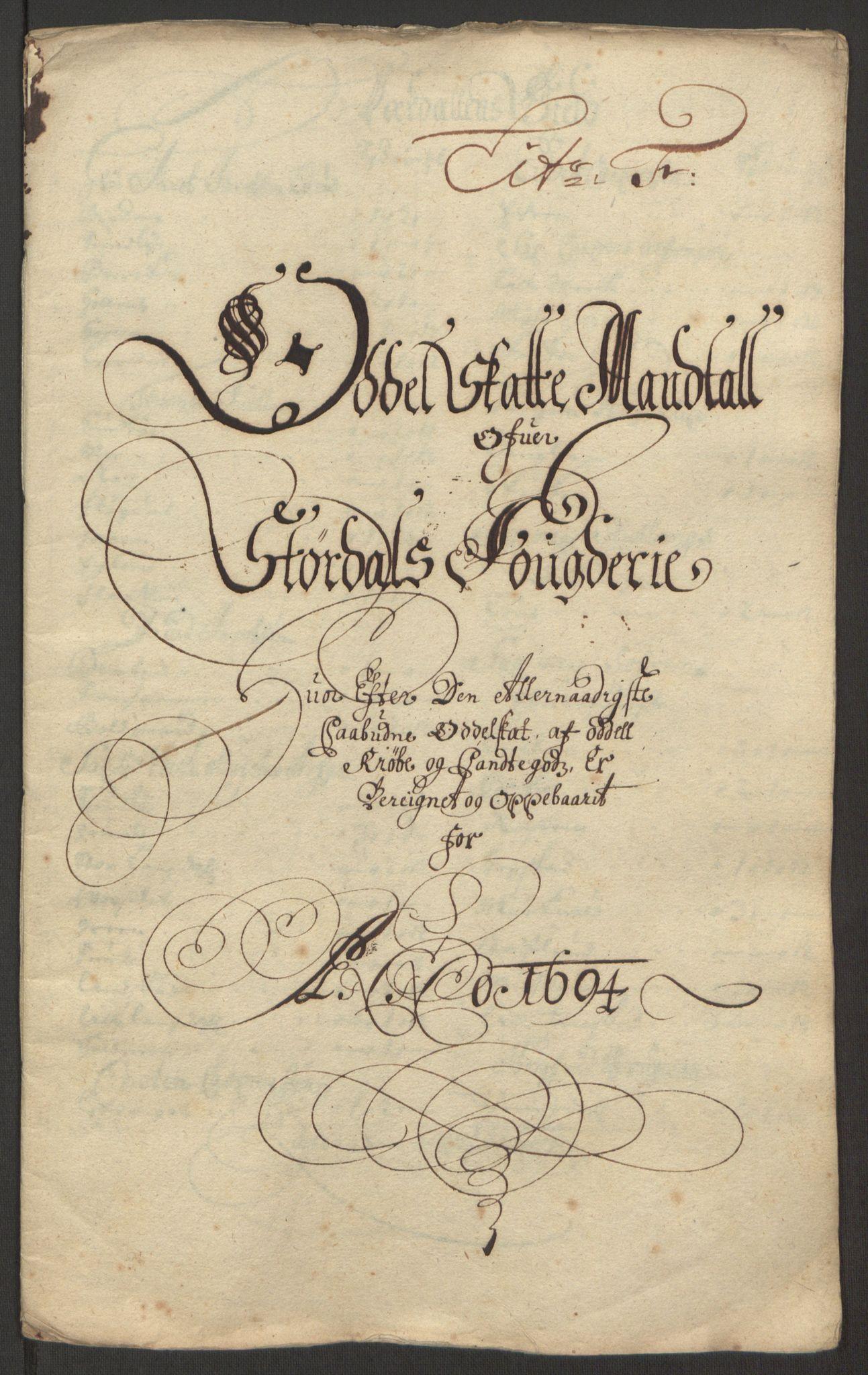 RA, Rentekammeret inntil 1814, Reviderte regnskaper, Fogderegnskap, R62/L4186: Fogderegnskap Stjørdal og Verdal, 1693-1694, s. 207