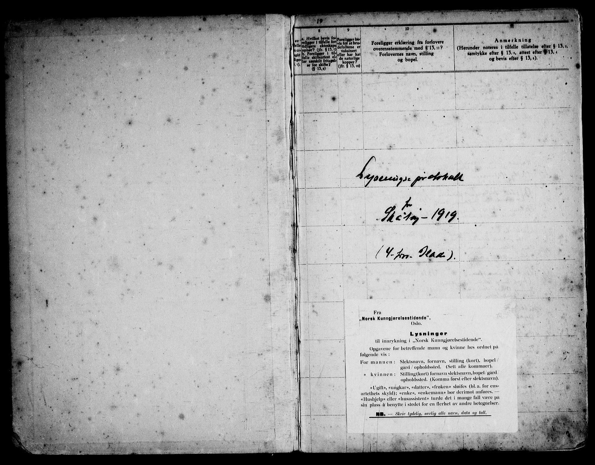 SAKO, Skåtøy kirkebøker, H/Ha/L0001: Lysningsprotokoll nr. 1, 1919-1961