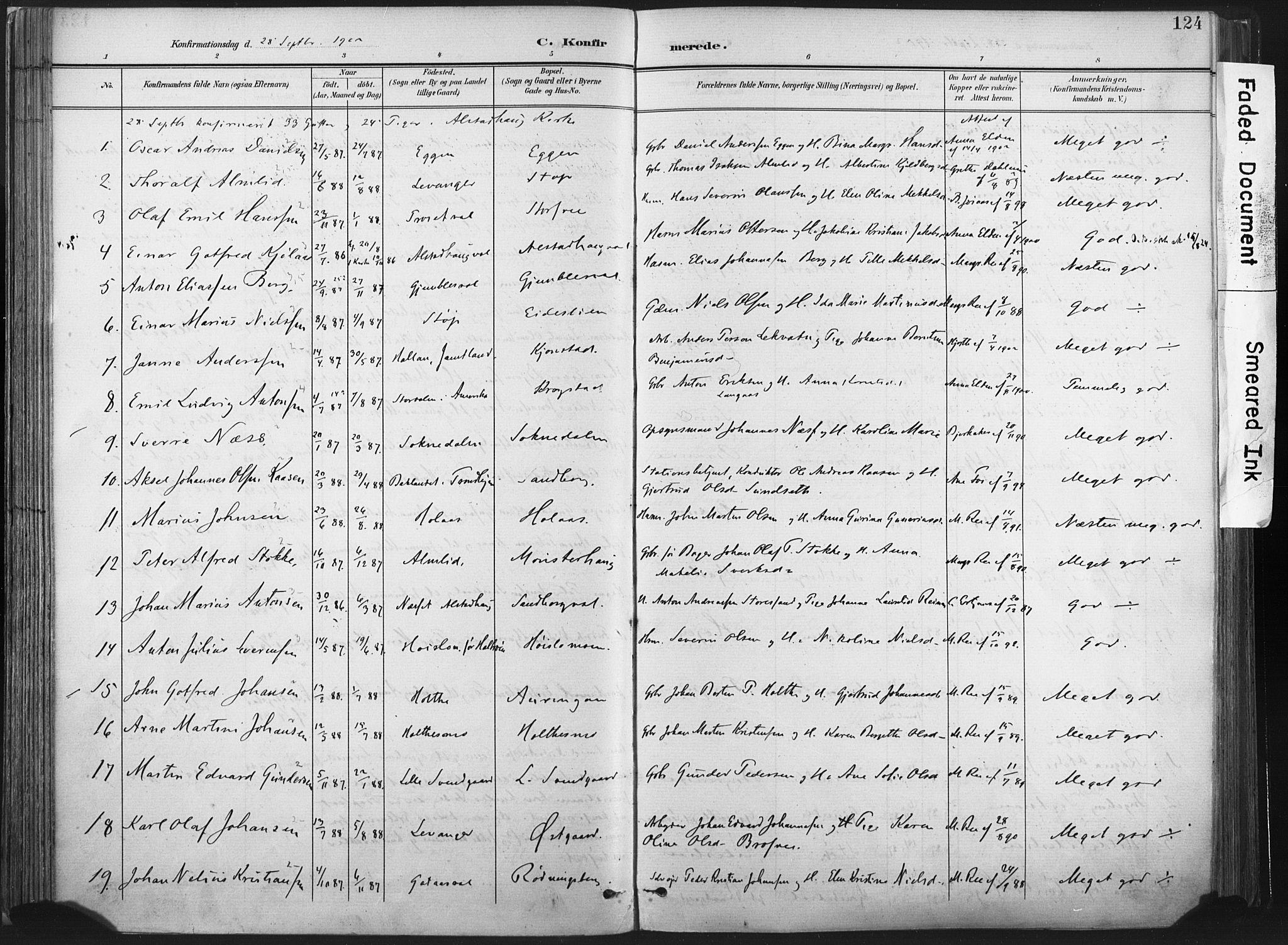 SAT, Ministerialprotokoller, klokkerbøker og fødselsregistre - Nord-Trøndelag, 717/L0162: Ministerialbok nr. 717A12, 1898-1923, s. 124