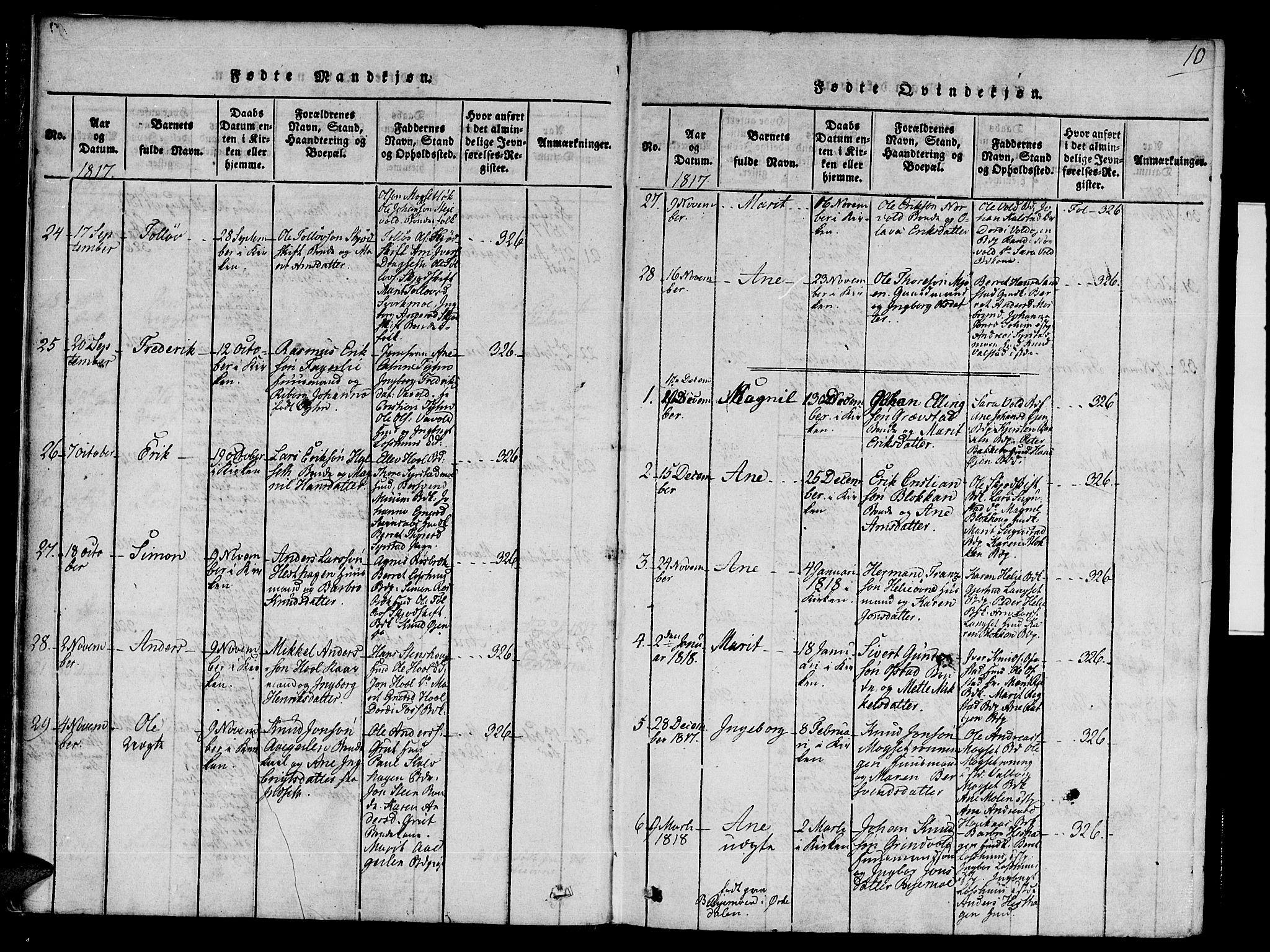 SAT, Ministerialprotokoller, klokkerbøker og fødselsregistre - Sør-Trøndelag, 672/L0853: Ministerialbok nr. 672A06 /1, 1816-1829, s. 10