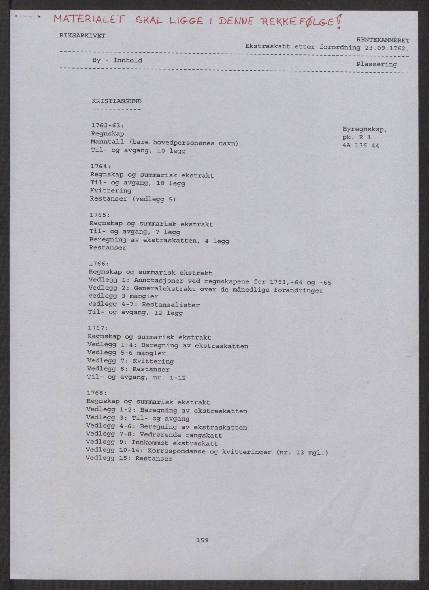 RA, Rentekammeret inntil 1814, Reviderte regnskaper, Byregnskaper, R/Rr/L0495: [R1] Kontribusjonsregnskap, 1762-1772, s. 2