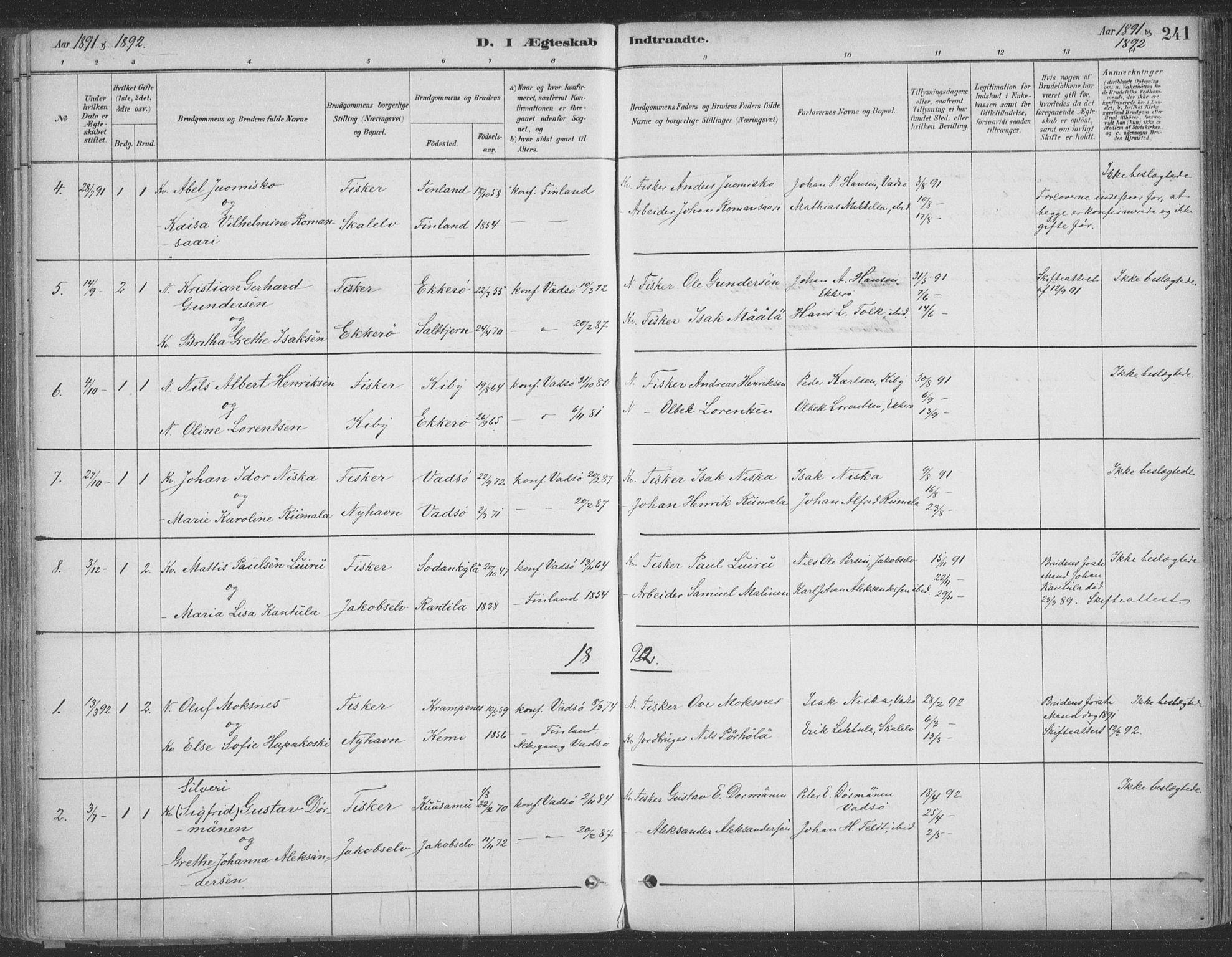 SATØ, Vadsø sokneprestkontor, H/Ha/L0009kirke: Ministerialbok nr. 9, 1881-1917, s. 241