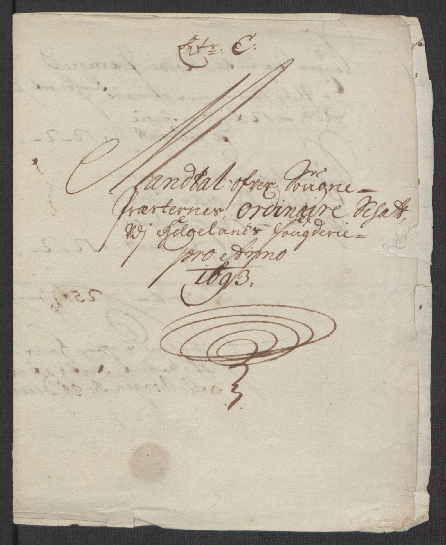 RA, Rentekammeret inntil 1814, Reviderte regnskaper, Fogderegnskap, R65/L4505: Fogderegnskap Helgeland, 1693-1696, s. 110