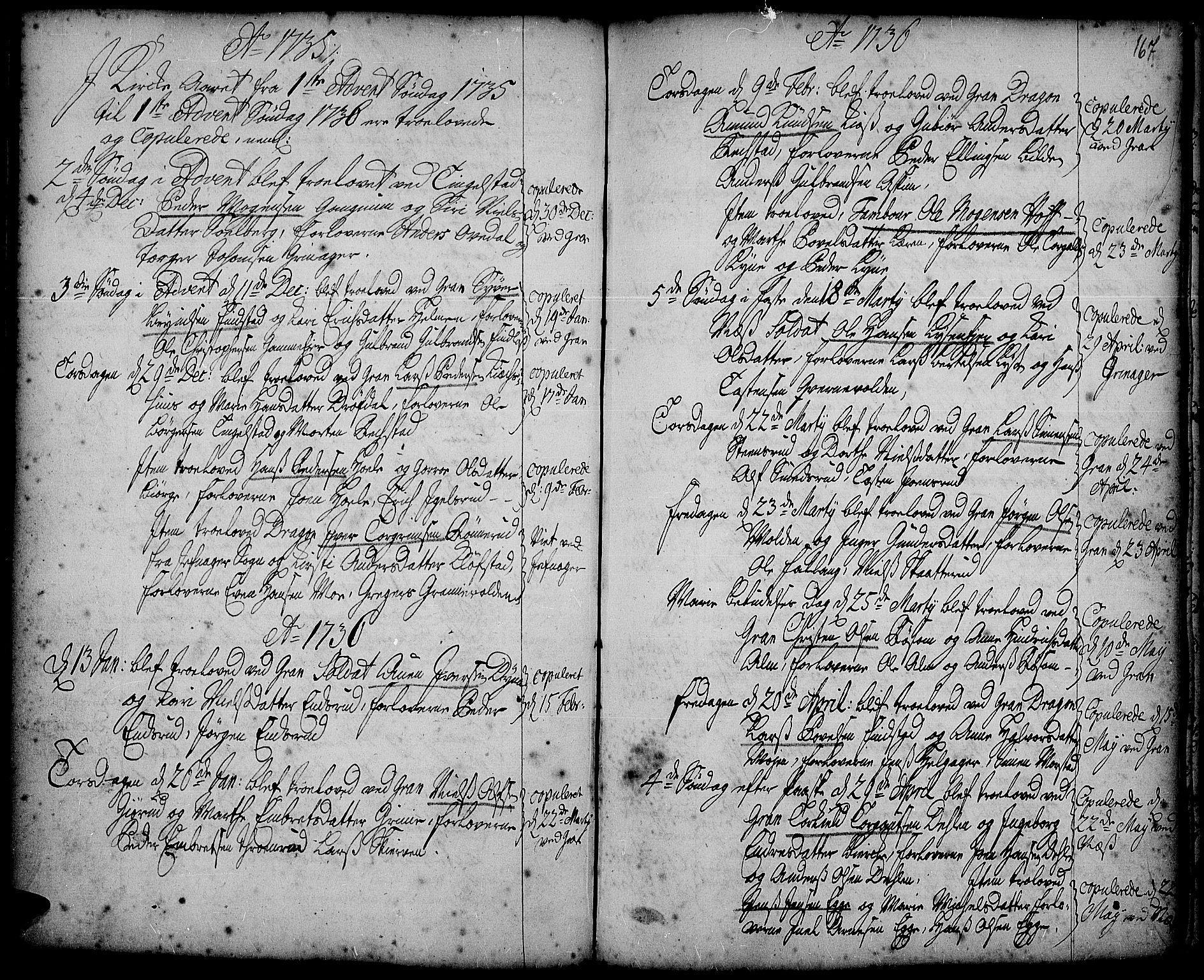 SAH, Gran prestekontor, Ministerialbok nr. 2, 1732-1744, s. 167