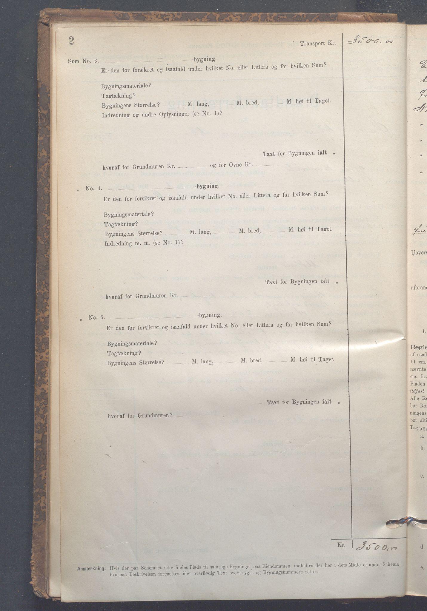 OBA, Lensmennene i Aker, F/Fc/L0007: Branntakstprotokoll, 1895-1910, s. 2