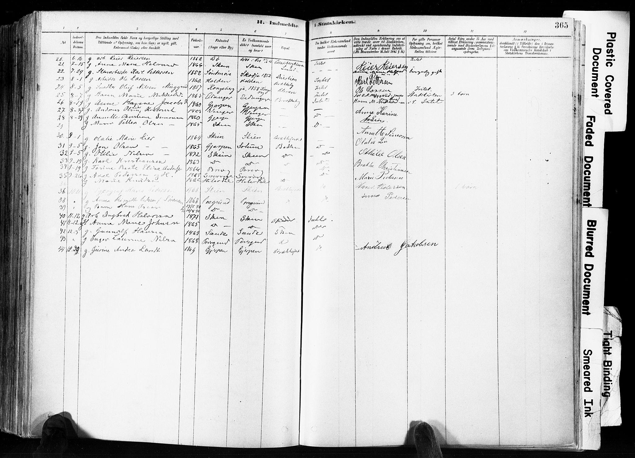 SAKO, Skien kirkebøker, F/Fa/L0009: Ministerialbok nr. 9, 1878-1890, s. 365