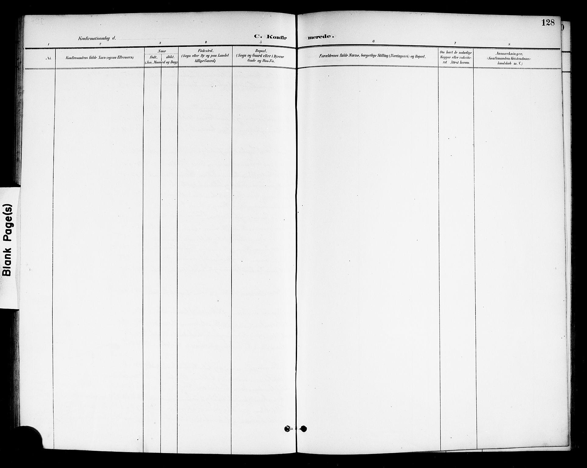 SAKO, Drangedal kirkebøker, G/Gb/L0002: Klokkerbok nr. II 2, 1895-1918, s. 128