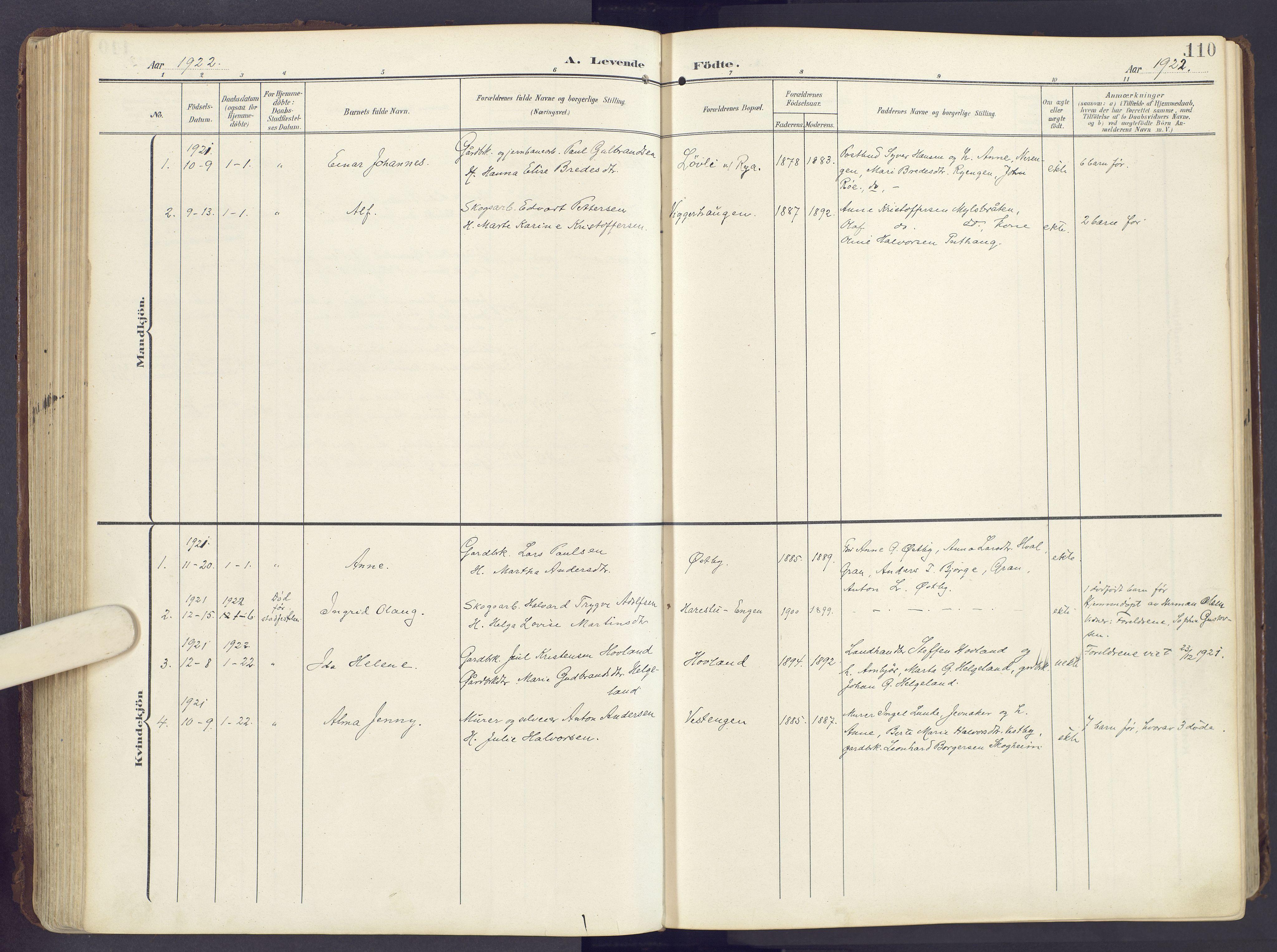 SAH, Lunner prestekontor, H/Ha/Haa/L0001: Ministerialbok nr. 1, 1907-1922, s. 110