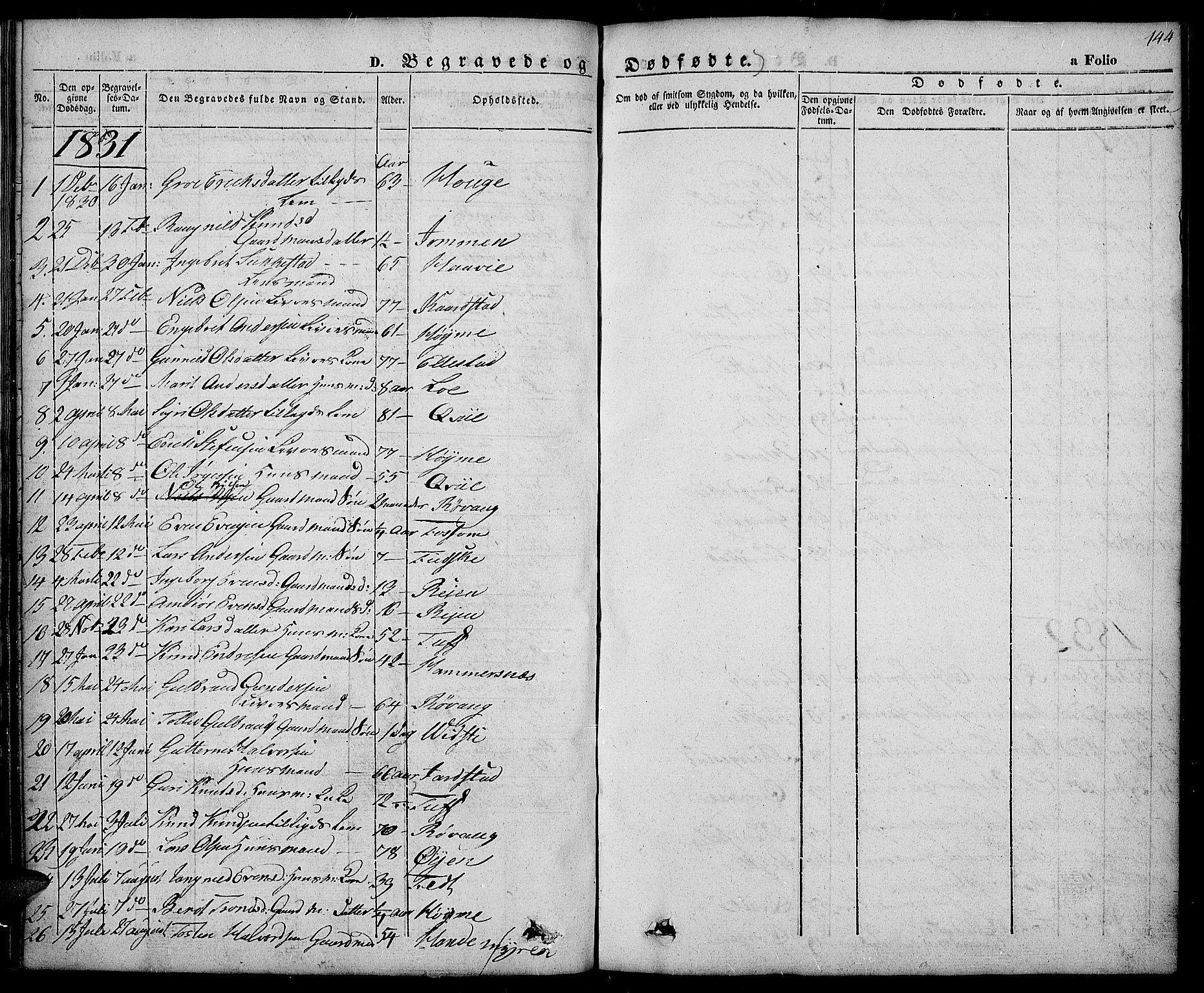 SAH, Slidre prestekontor, Ministerialbok nr. 3, 1831-1843, s. 144
