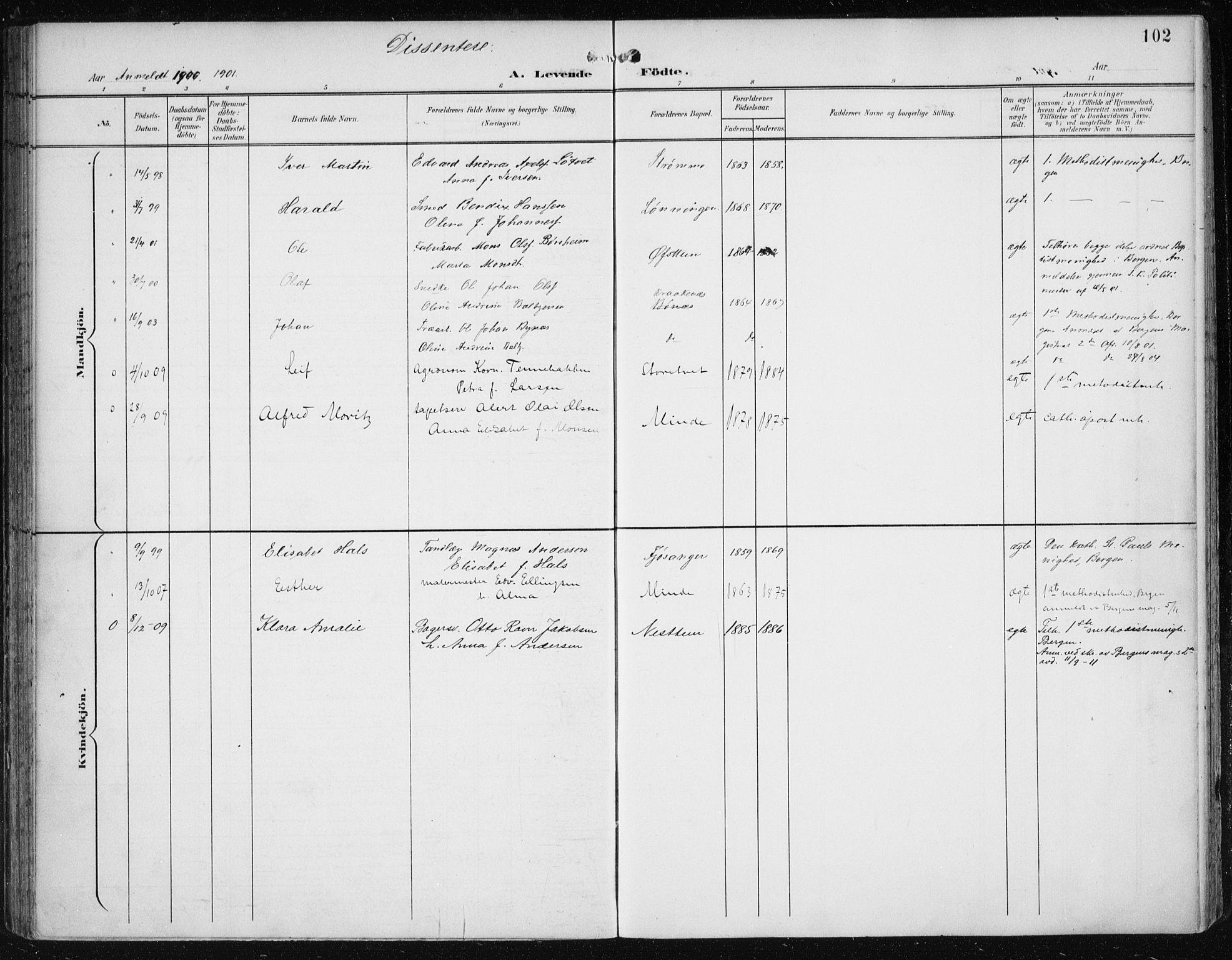 SAB, Fana Sokneprestembete, H/Haa/Haai/L0003: Ministerialbok nr. I 3, 1900-1912, s. 102