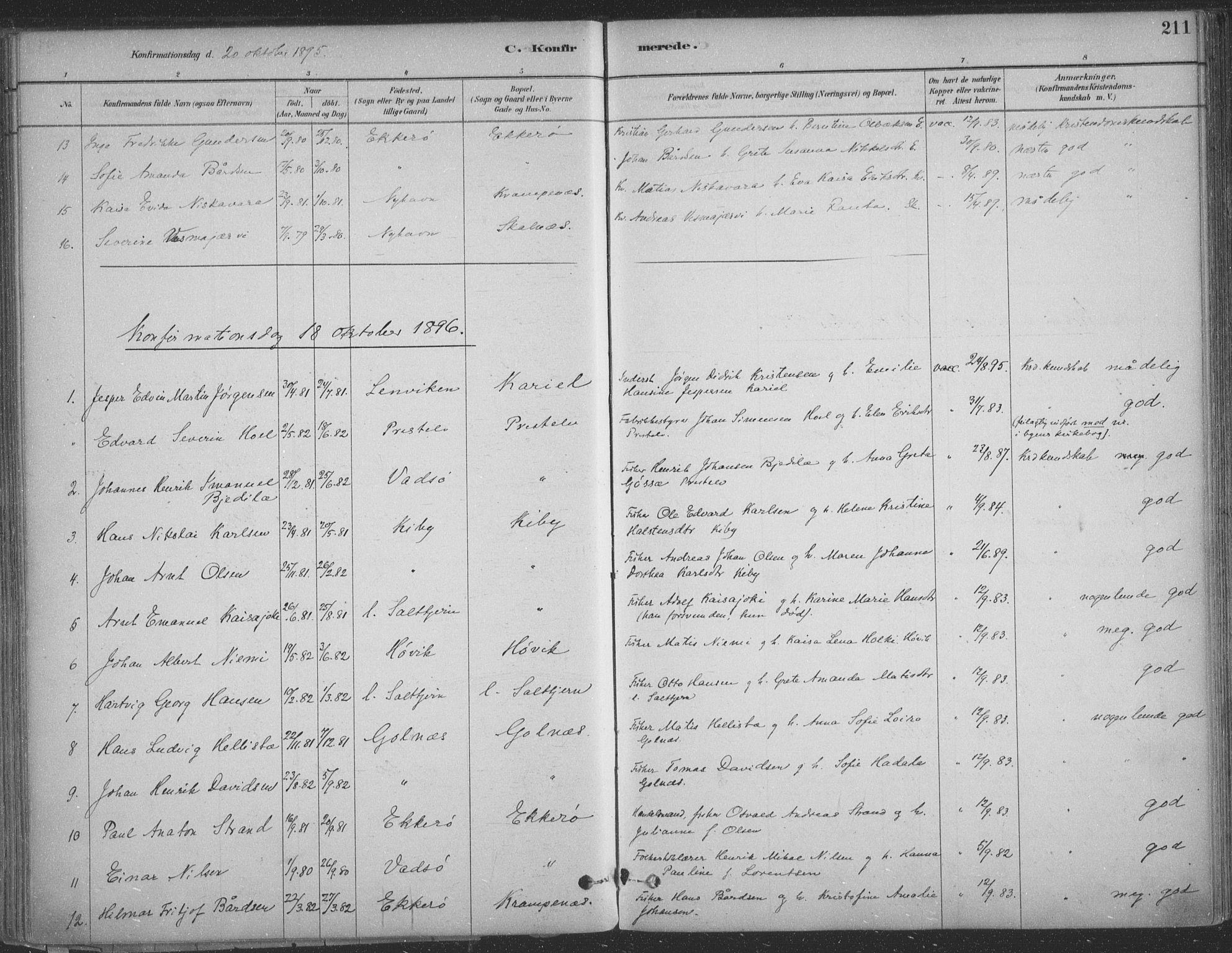 SATØ, Vadsø sokneprestkontor, H/Ha/L0009kirke: Ministerialbok nr. 9, 1881-1917, s. 211