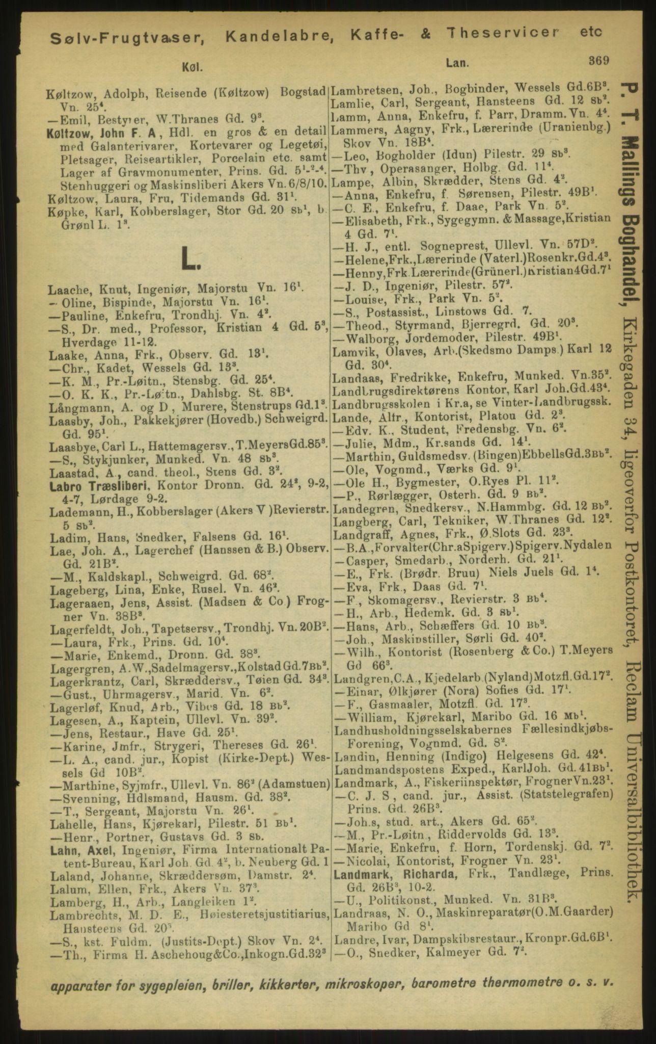 PUBL, Kristiania/Oslo adressebok, 1897, s. 369