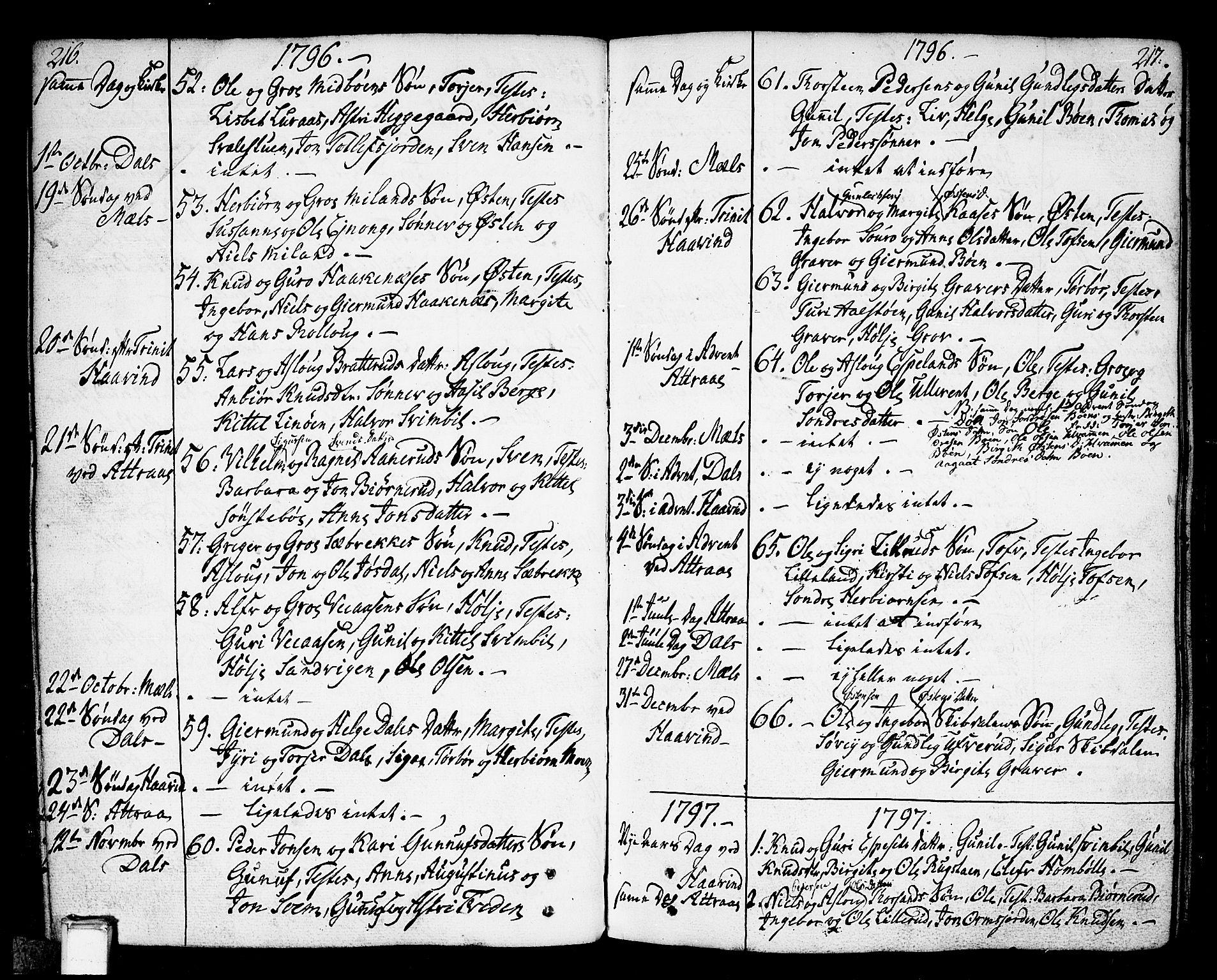 SAKO, Tinn kirkebøker, F/Fa/L0002: Ministerialbok nr. I 2, 1757-1810, s. 216-217