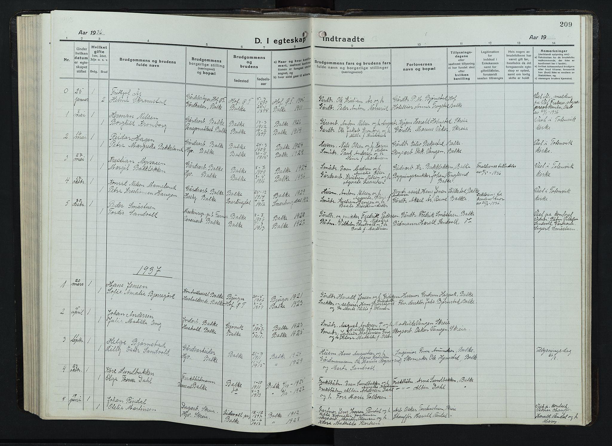 SAH, Balke prestekontor, Klokkerbok nr. 1, 1920-1955, s. 209