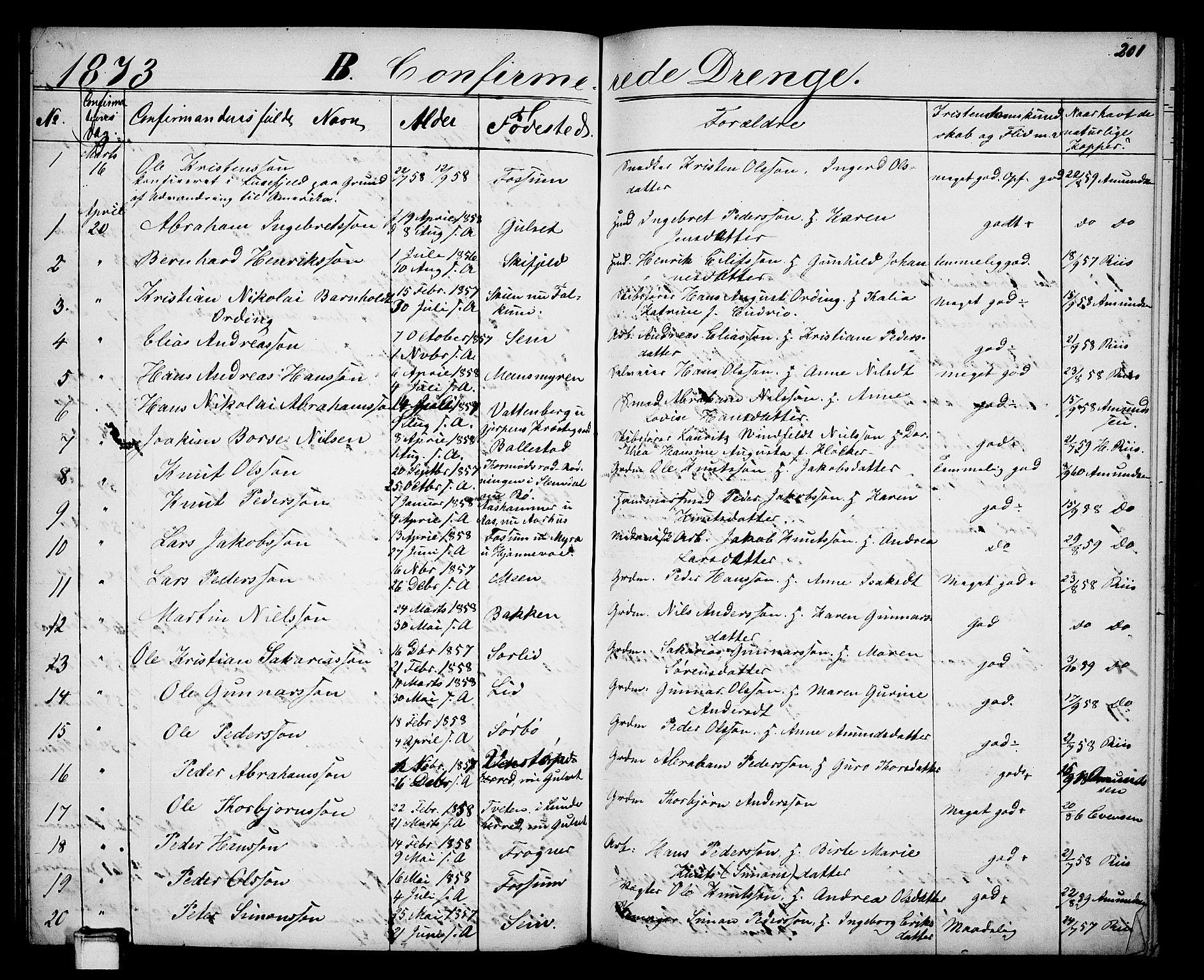 SAKO, Gjerpen kirkebøker, G/Ga/L0001: Klokkerbok nr. I 1, 1864-1882, s. 201