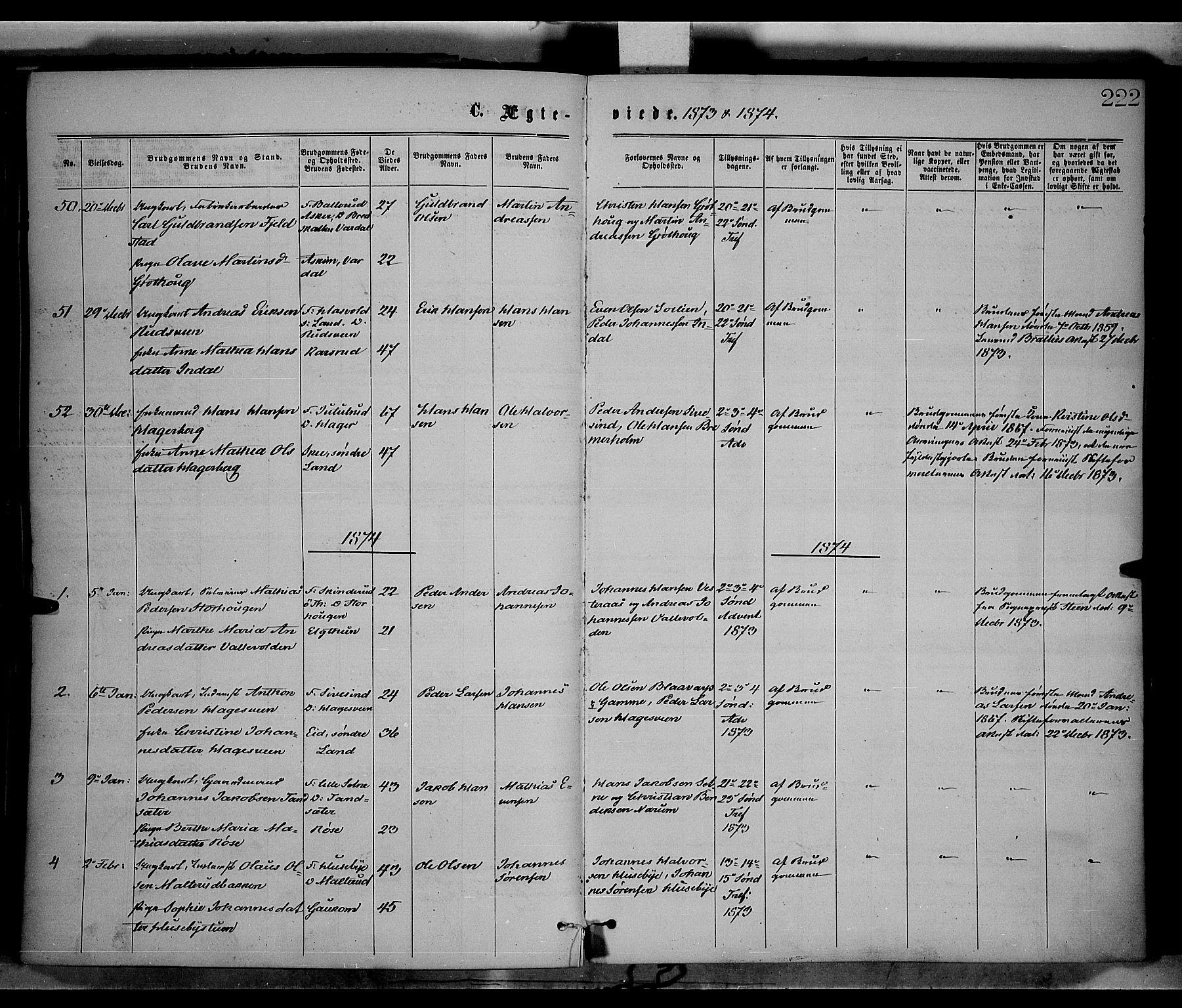 SAH, Vestre Toten prestekontor, Ministerialbok nr. 8, 1870-1877, s. 222