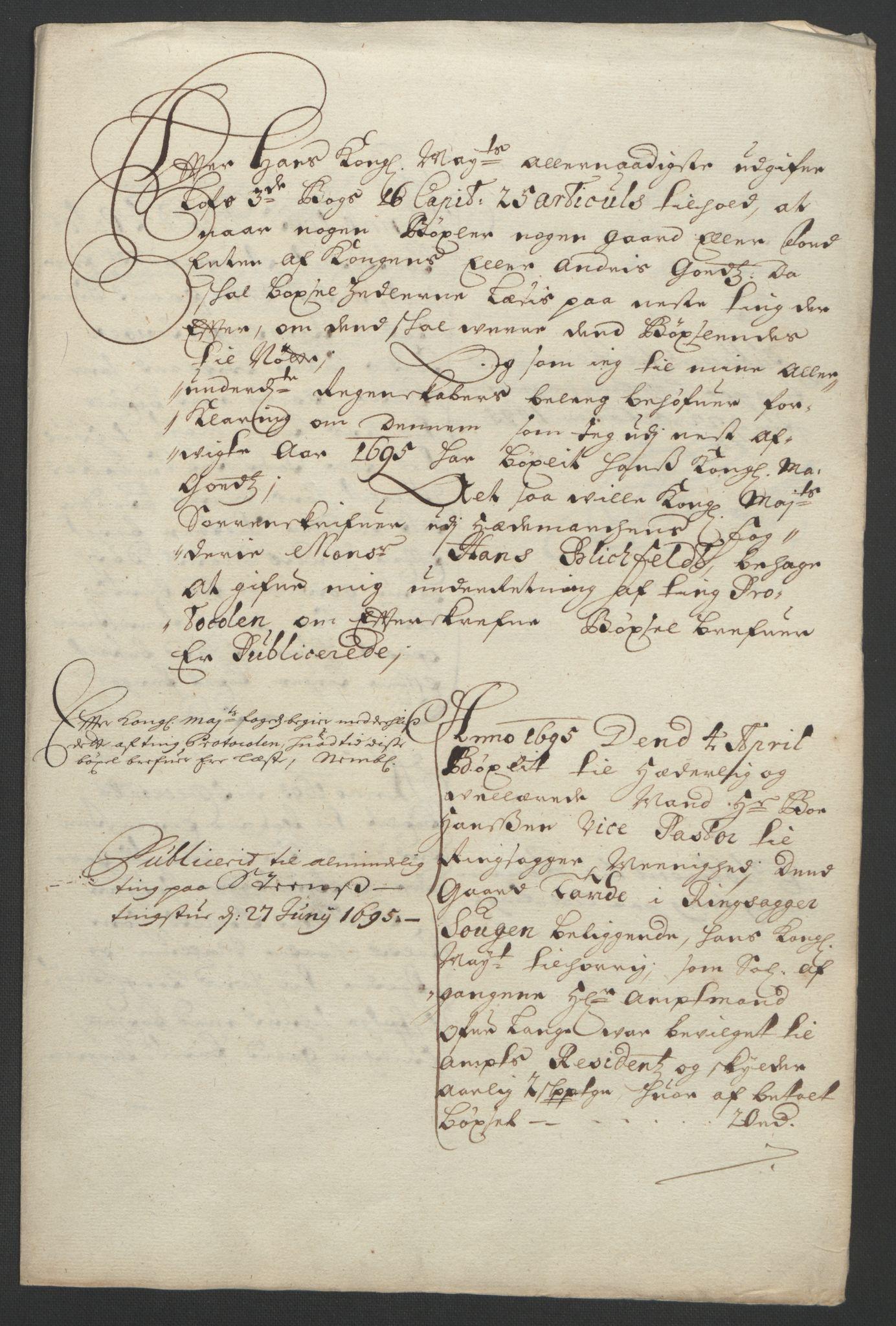 RA, Rentekammeret inntil 1814, Reviderte regnskaper, Fogderegnskap, R16/L1036: Fogderegnskap Hedmark, 1695-1696, s. 63