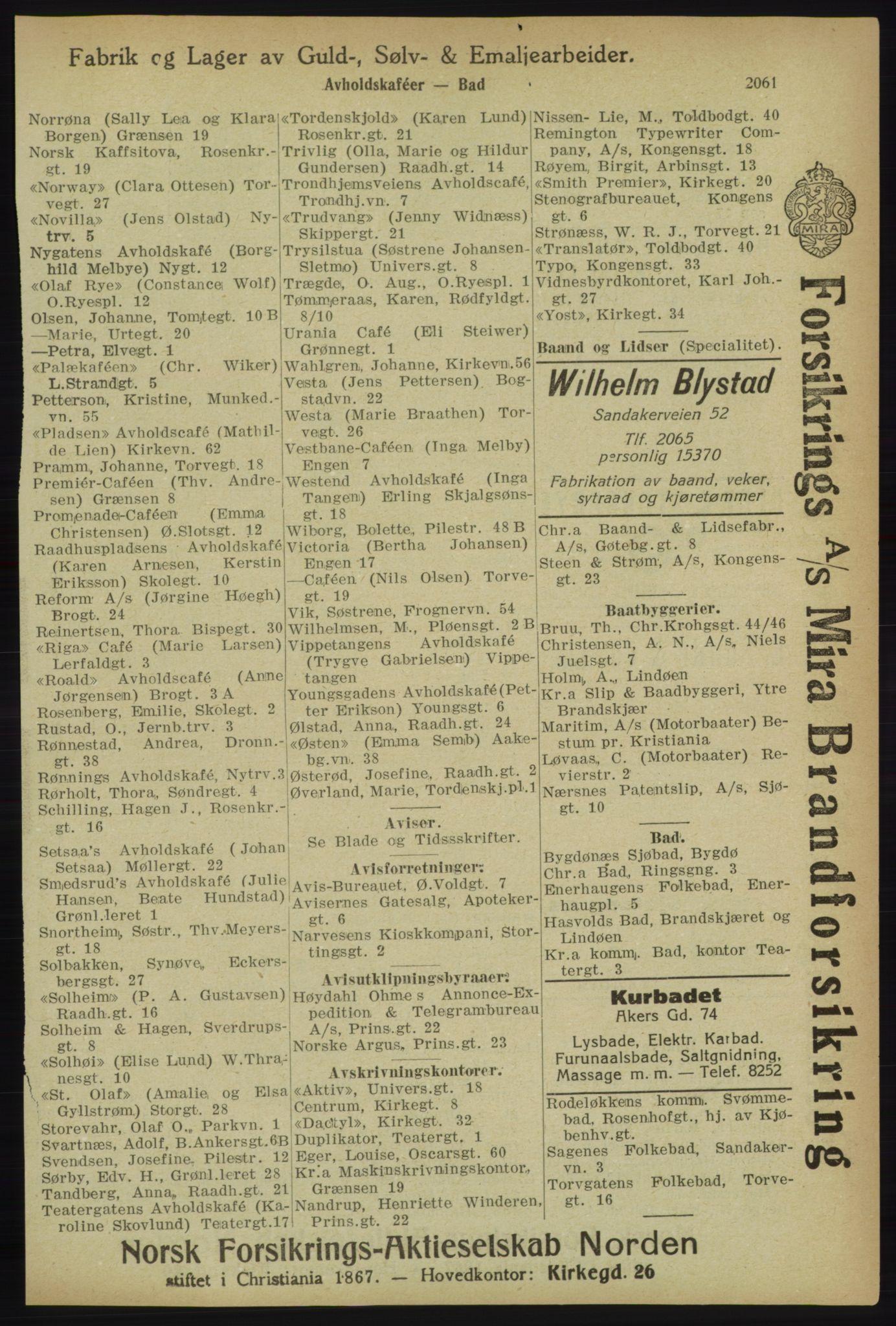 RA, Kristiania adressebok (publikasjon)*, 1918, s. 2061